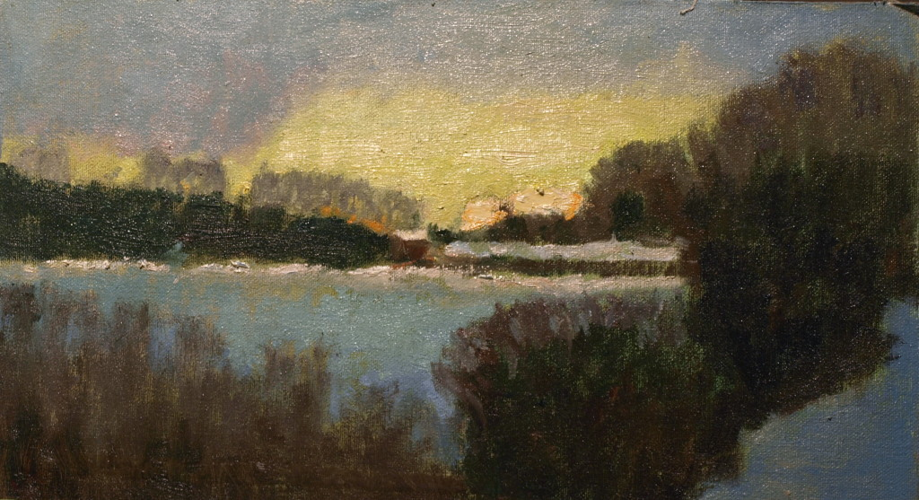 Snow Covered Winter Pasture, Oil on Canvas on Panel, 8 x 14 Inches, by Richard Stalter, $225