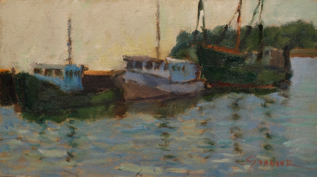 Fishing Boats Dockside, Oil on Canvas on Panel, 8 x 14 Inches, by Richard Stalter, $220
