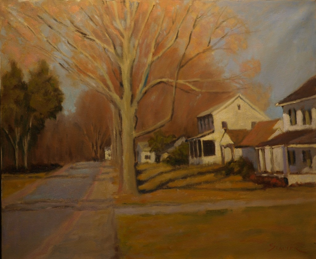 Sunlit Houses, Oil on Canvas, 20 x 24 Inches, by Richard Stalter, $650