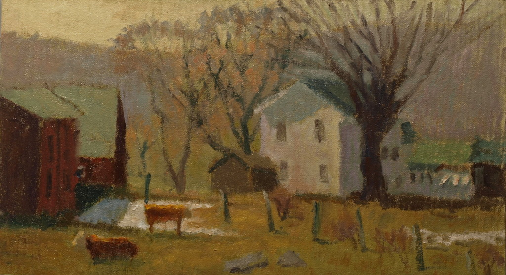 Wash Day at the Farm, Oil on Canvas on Panel, 8 x 14 Inches, by Richard Stalter, $225
