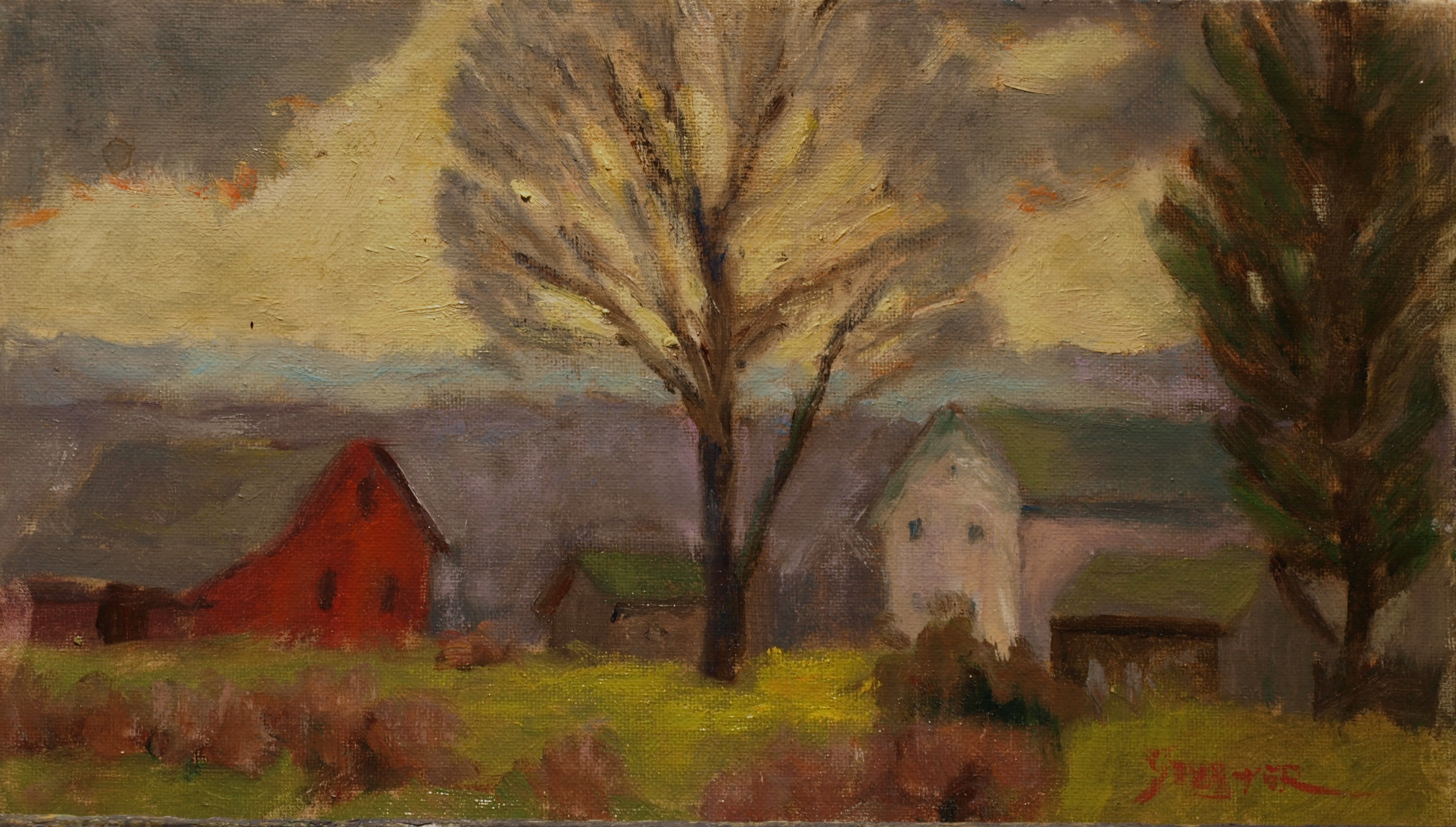 Windswept Farm, Oil on Canvas on Panel, 8 x 14 Inches, by Richard Stalter, $225