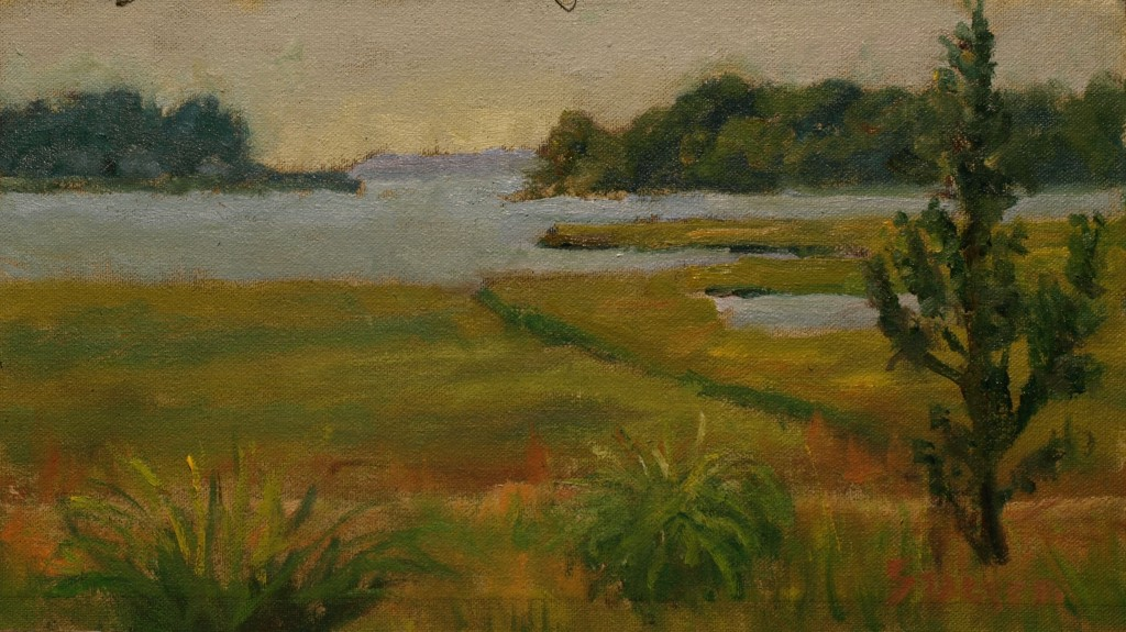 Across the Marshland, Oil on Canvas on Panel, 8 x 14 Inches, by Richard Stalter, $220