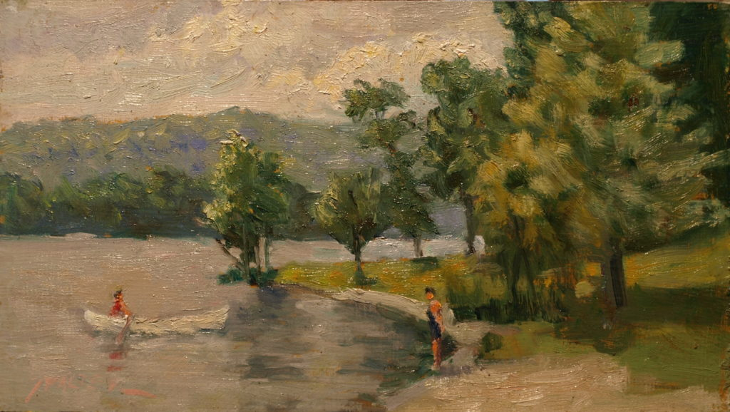 Canoeist, Oil on Canvas on Panel, 8 x 14 Inches, by Richard Stalter, $225