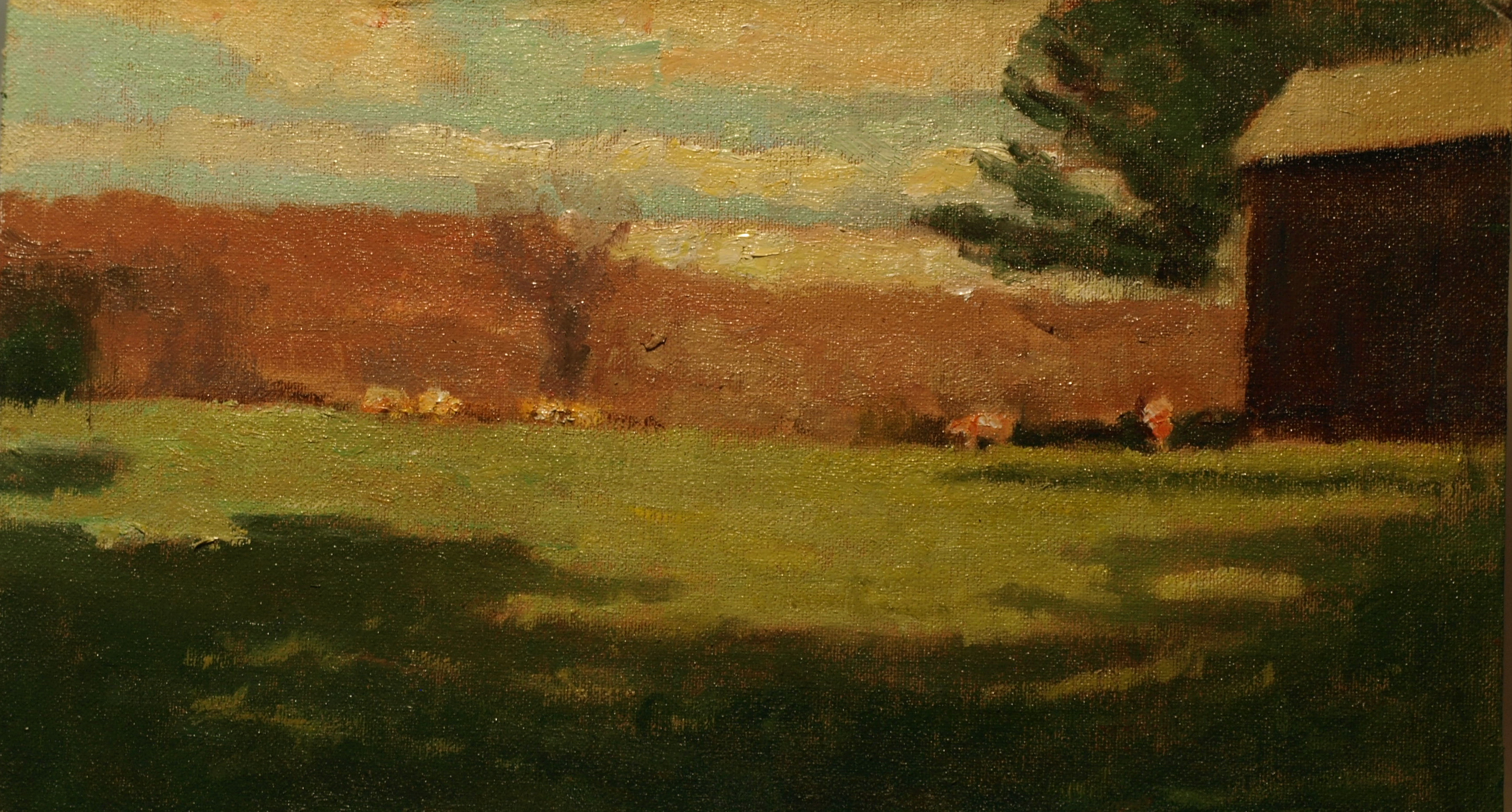Cows on the Crest of the Hill, Oil on Canvas on Panel, 8 x 14 Inches, by Richard Stalter, $225