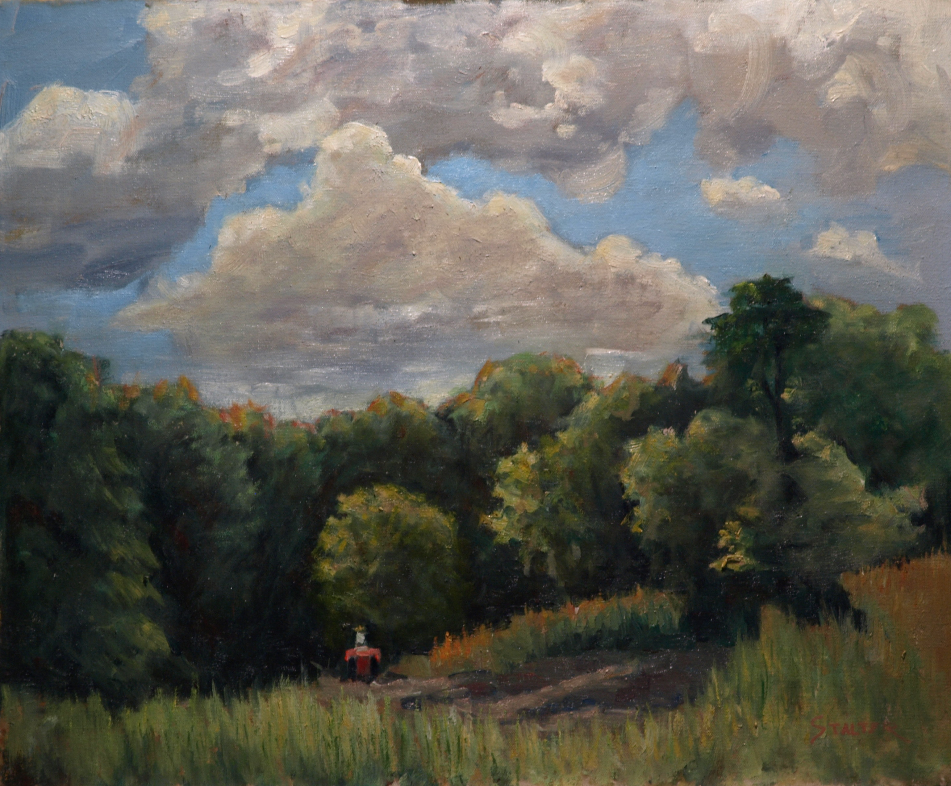 Tractor Heading Out, Oil on Canvas, 20 x 24 Inches, by Richard Stalter, $650