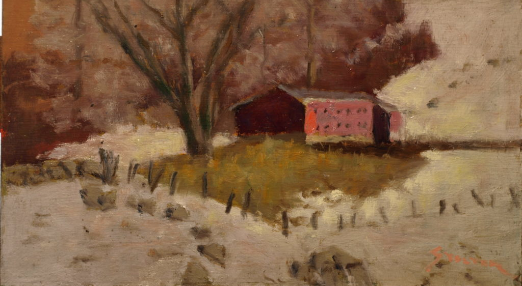Abode of Chickens, Oil on Canvas on Panel, 8 x 14 Inches, by Richard Stalter, $225