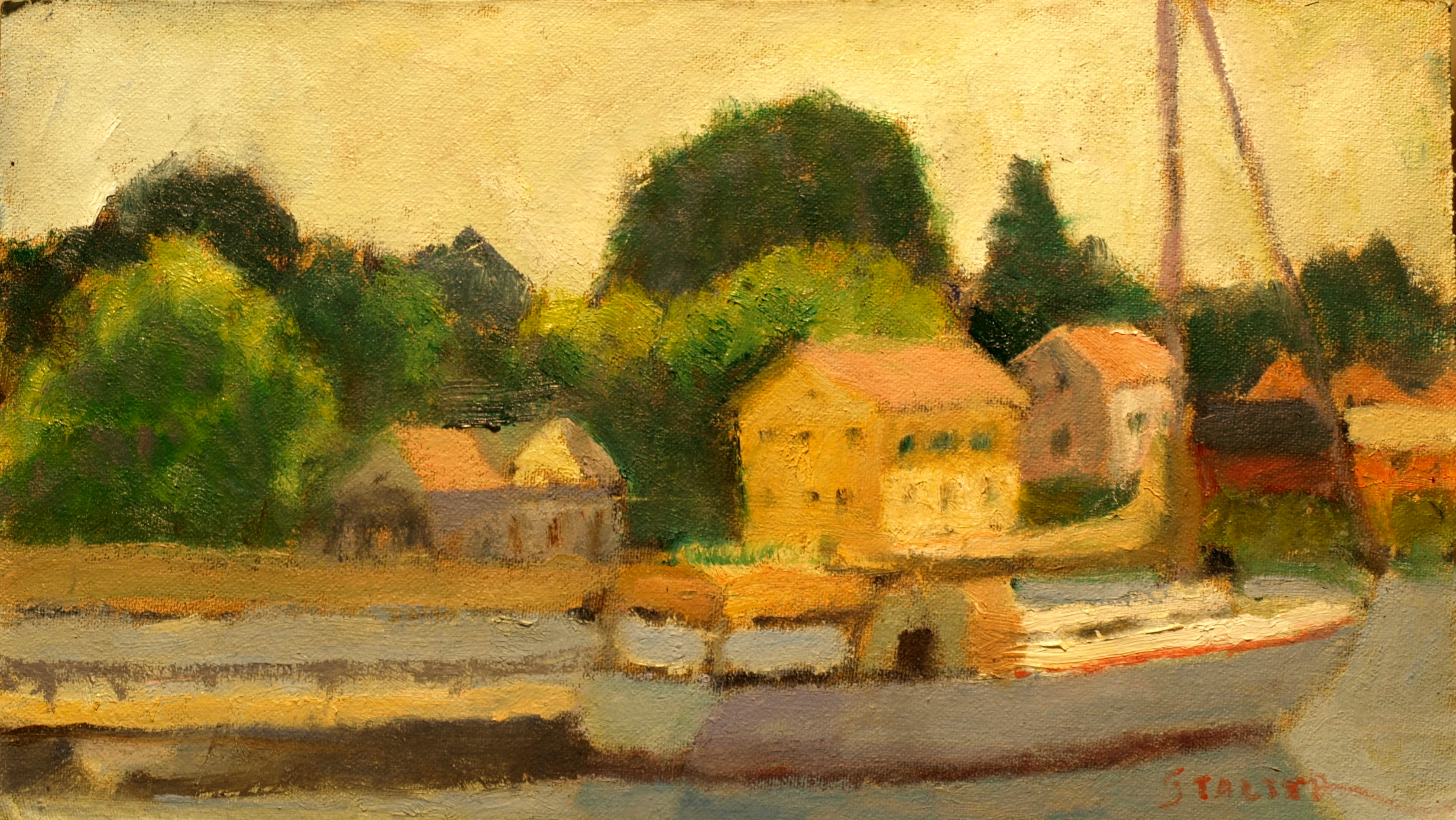 Docked Sailboat, Oil on Canvas on Panel, 8 x 14 Inches, by Richard Stalter, $220