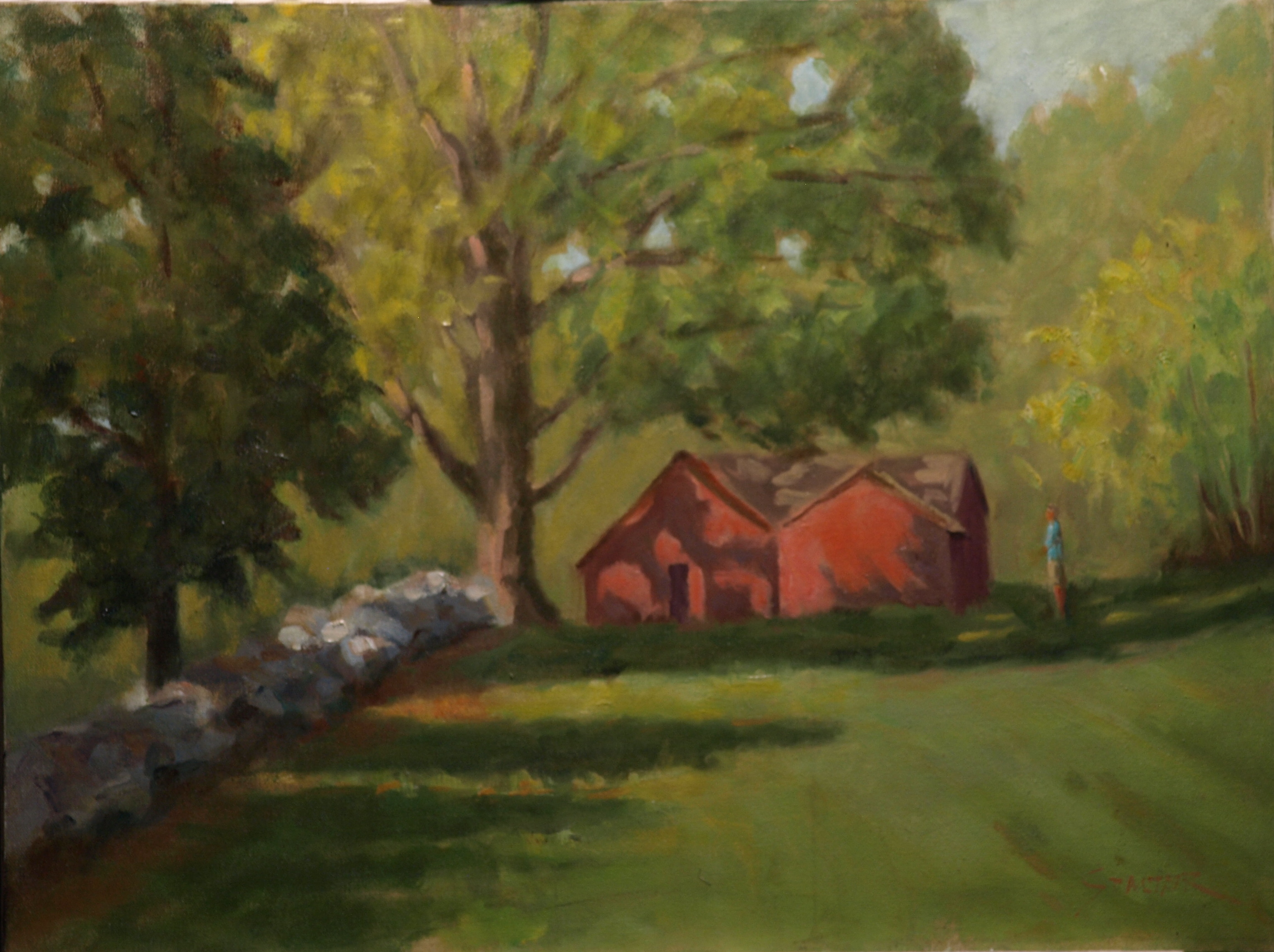 Stone Wall and Forge, Oil on Canvas, 18 x 24 Inches, by Richard Stalter, $650