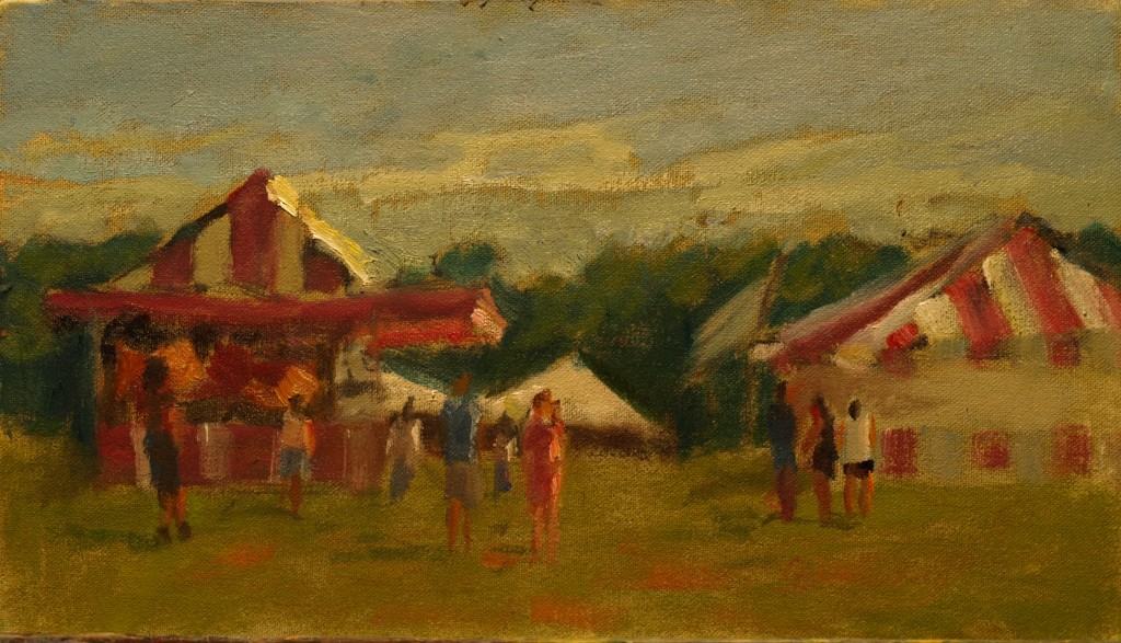 Fair Concessions, Oil on Canvas on Panel, 8 x 14 Inches, by Richard Stalter, $220
