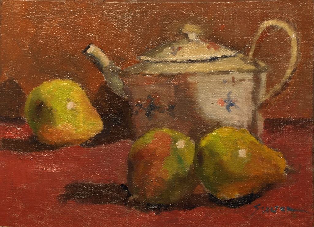 Flowered Teapot, Oil on Canvas on Panel, 9 x 12 Inches, by Richard Stalter, $225