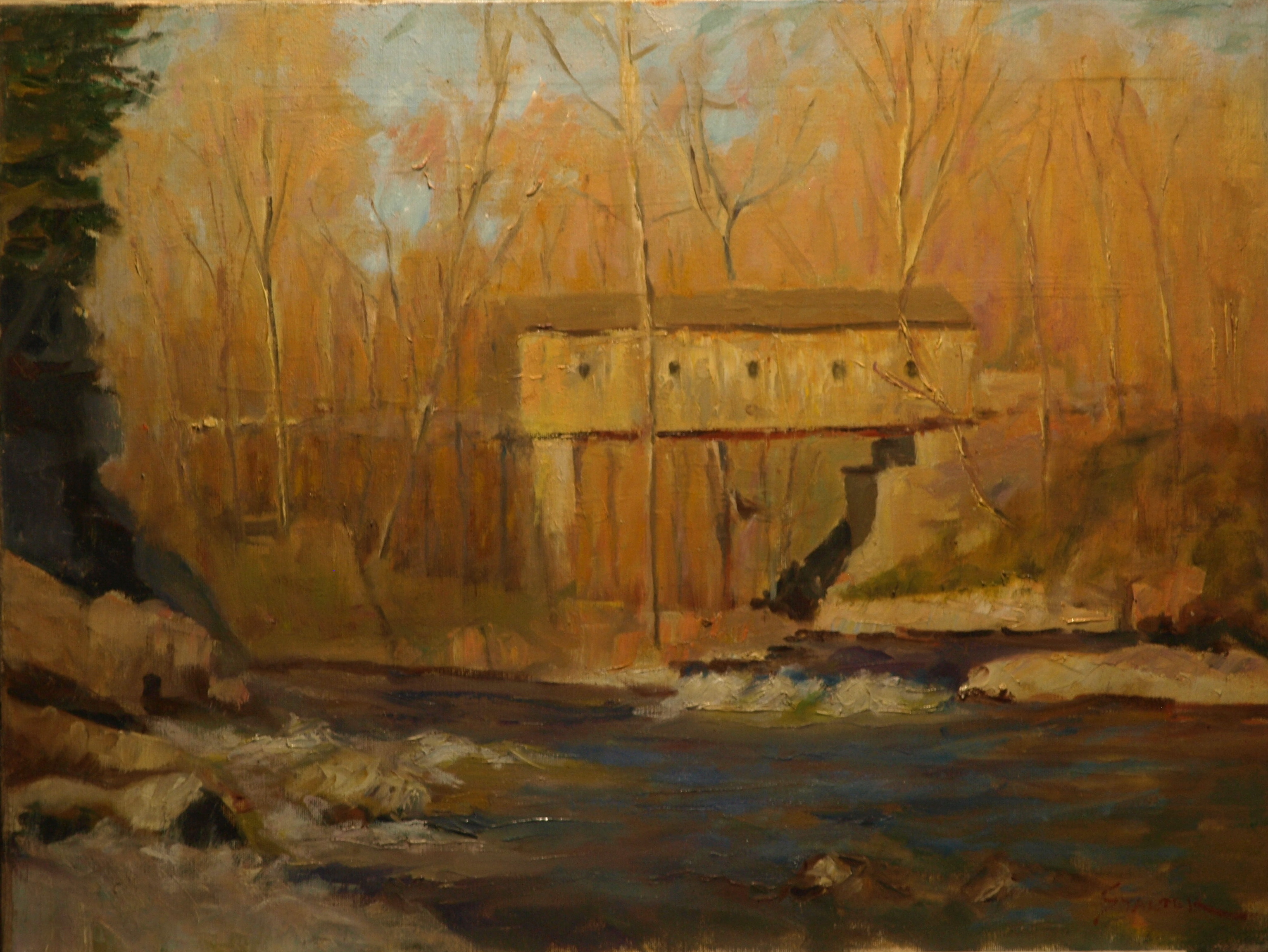 Rapids below Bulls Bridge, Oil on Canvas, 18 x 24 Inches, by Richard Stalter, $650