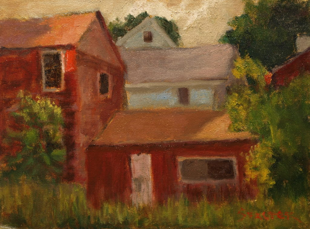 Abandoned Barns, Oil on Canvas on Panel, 9 x 12 Inches, by Richard Stalter, $225