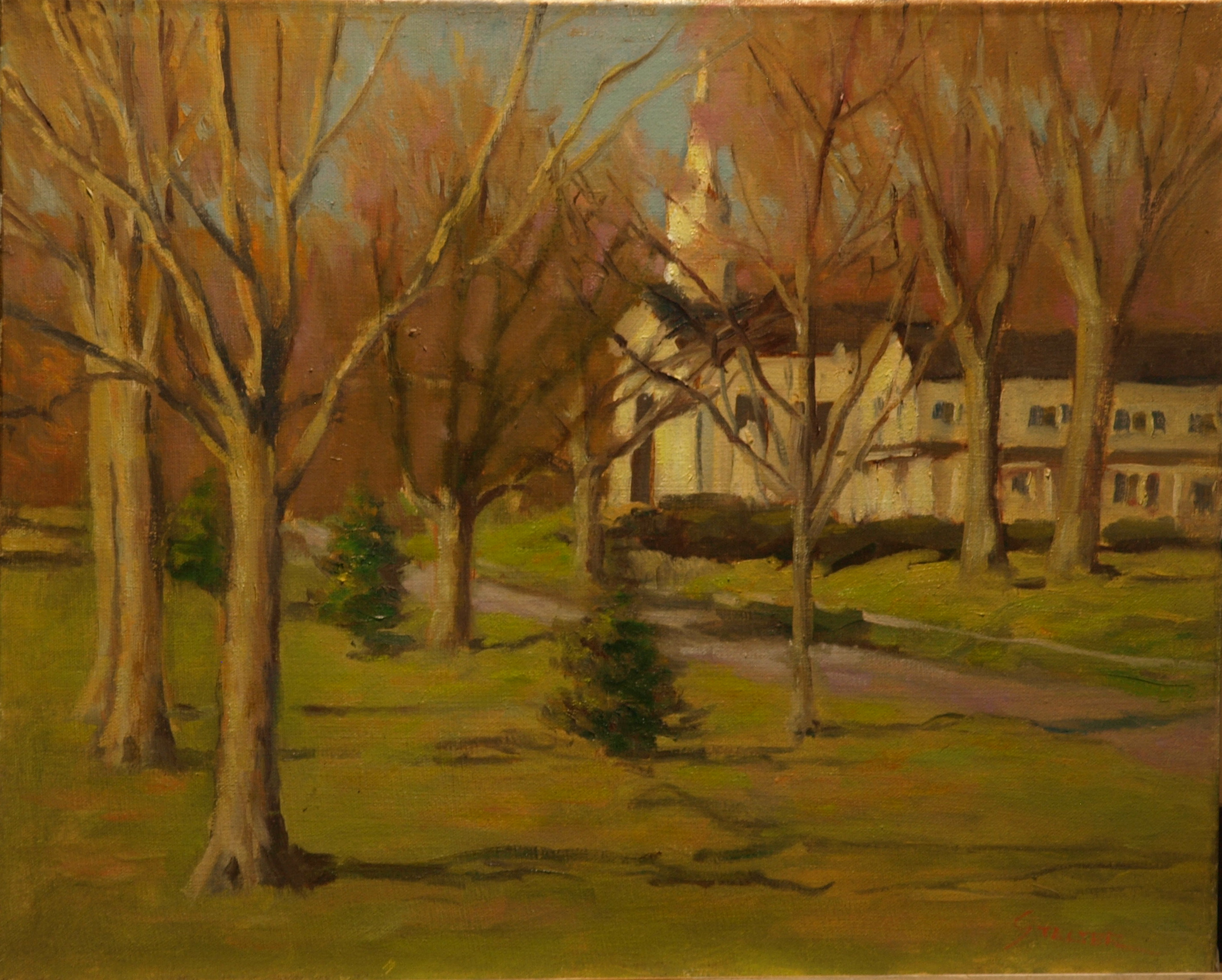 Church on the Green, Oil on Canvas, 16 x 20 Inches, by Richard Stalter, $450