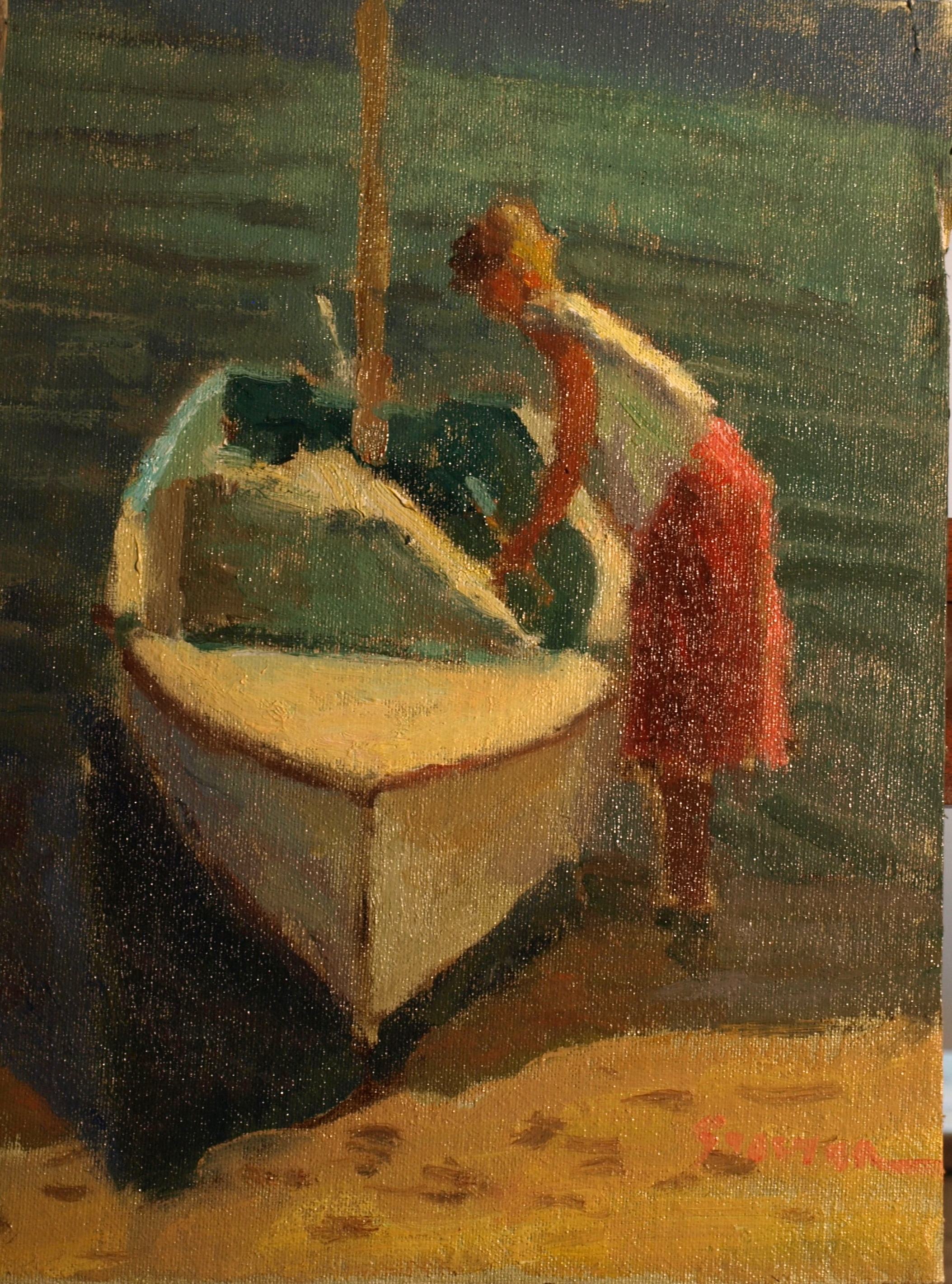 Casting Off, Oil on Canvas on Panel, 12 x 9 Inches, by Richard Stalter, $225