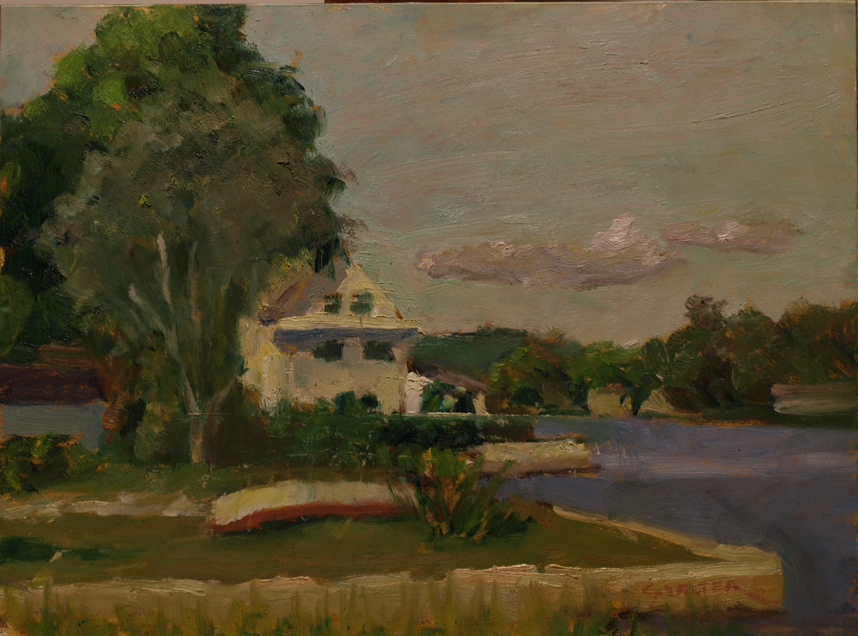 Mystic River Shoreline, Oil on Panel, 9 x 12 Inches, by Richard Stalter, $220