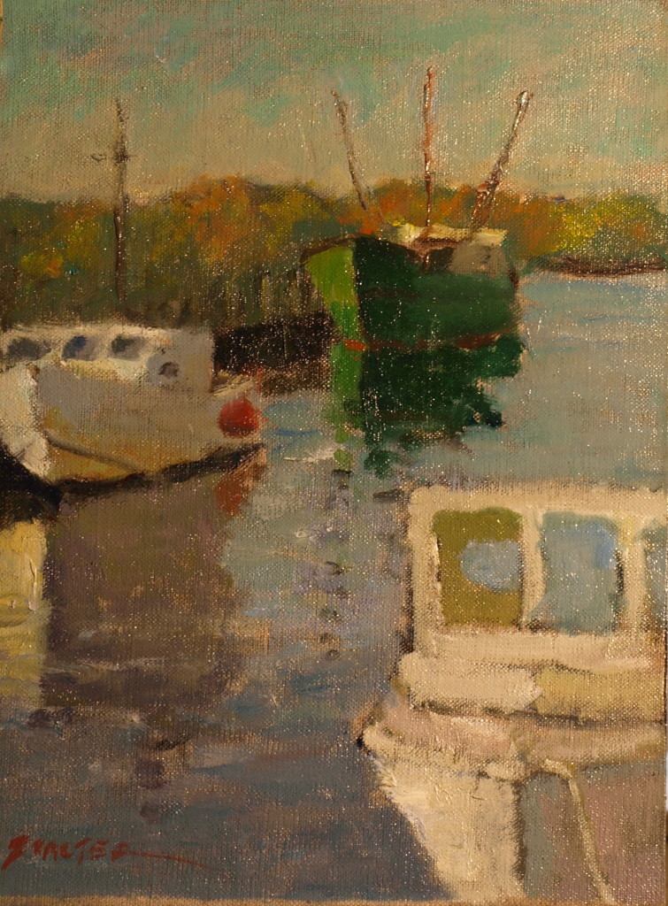 Harbor Scene, Oil on Canvas on Panel, 12 x 9 Inches, by Richard Stalter, $225