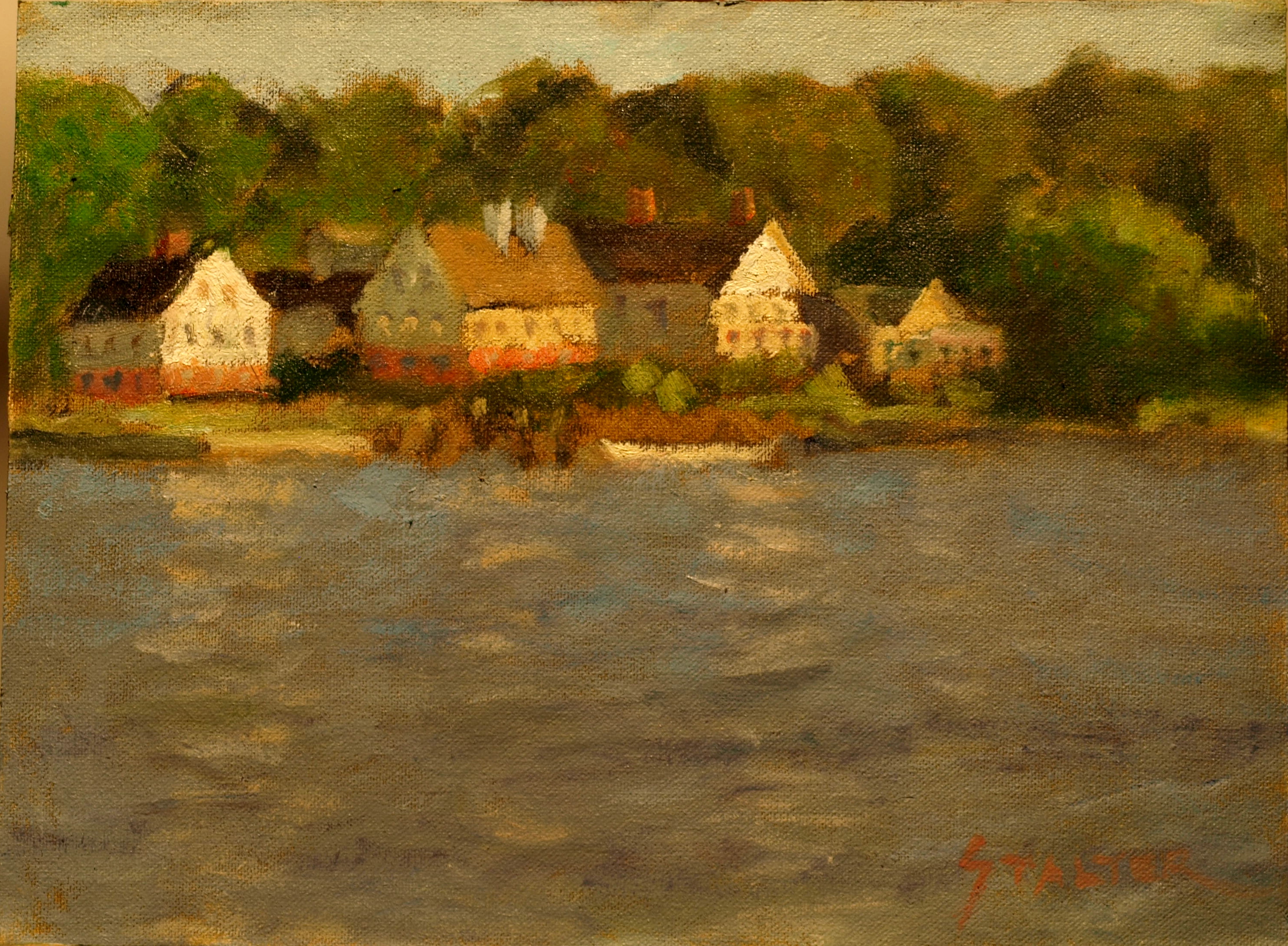 Mystic River Morning, Oil on Canvas on Panel, 9 x 12 Inches, by Richard Stalter, $220