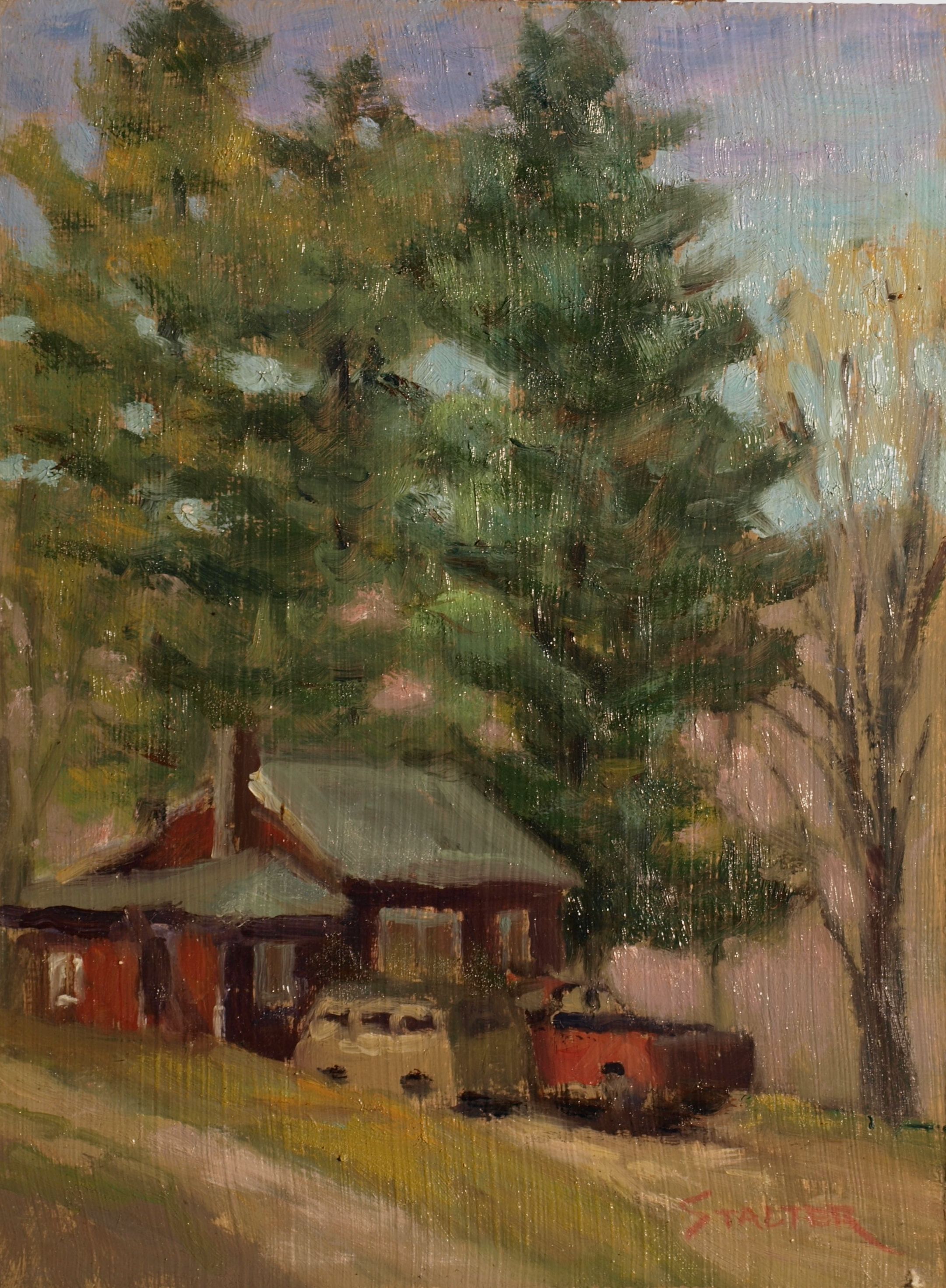VW Van and Truck, Oil on Panel, 9 x 12 Inches, by Richard Stalter, $225