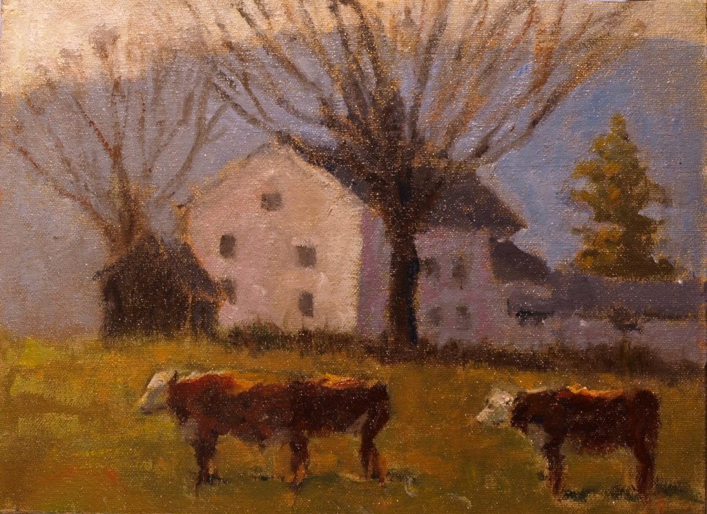 Cows with Distant Blue Hills, Oil on Canvas on Panel, 9 x 12 Inches, by Richard Stalter, $225