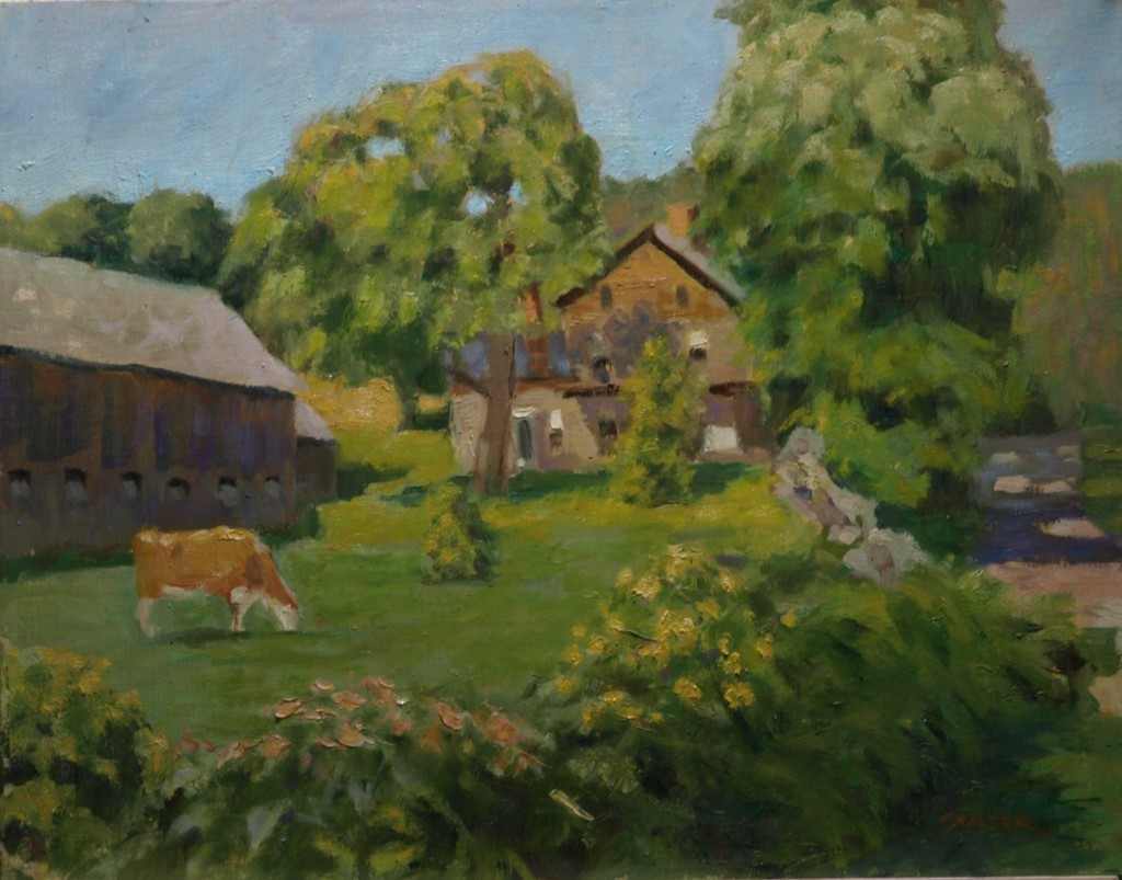 Farm on Treasure Hill, Oil on Canvas, 16 x 20 Inches, by Richard Stalter, $450
