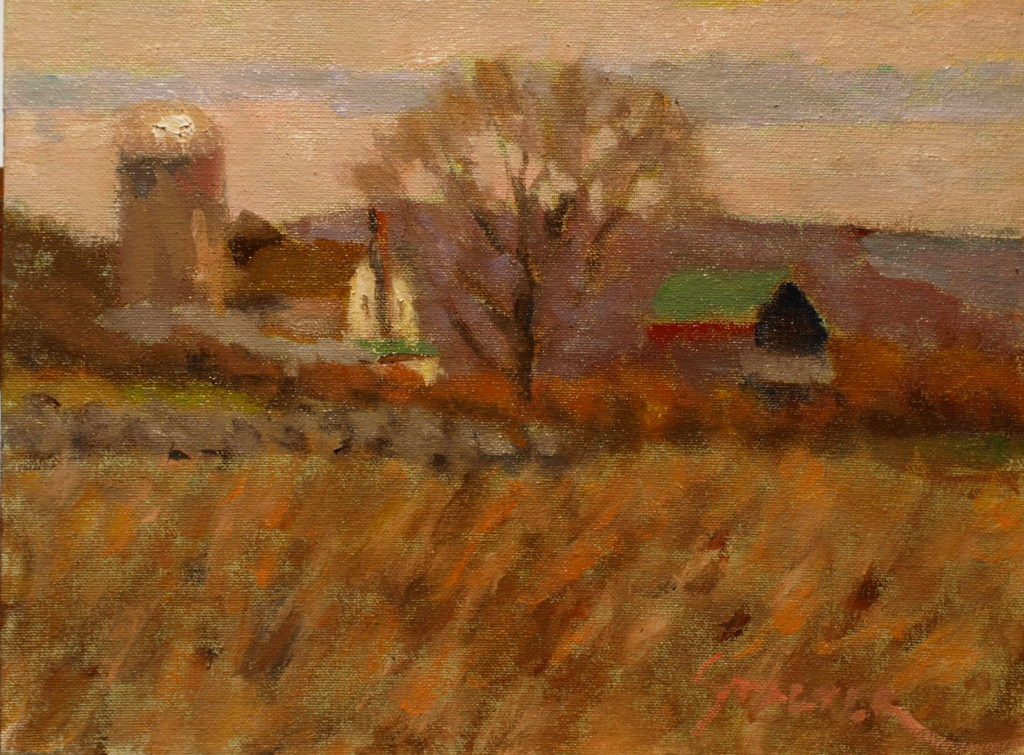 Hilltop Winds, Oil on Canvas on Panel, 9 x 12 Inches, by Richard Stalter, $225
