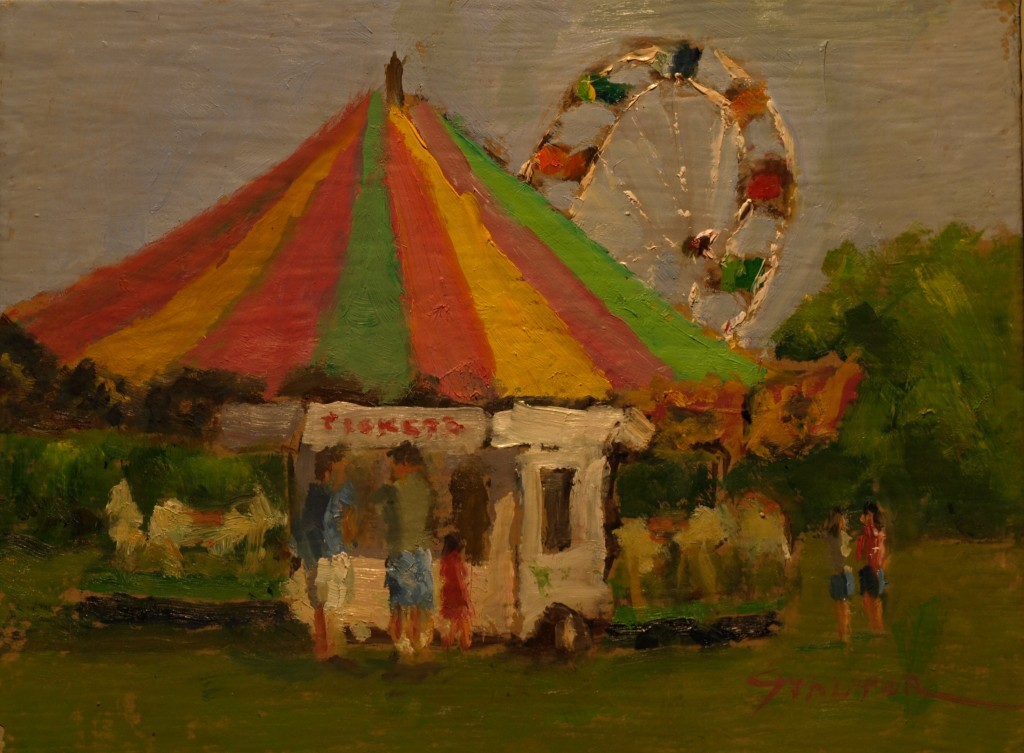 Carnival Rides, Oil on Canvas on Panel, 9 x 12 Inches, by Richard Stalter, $220