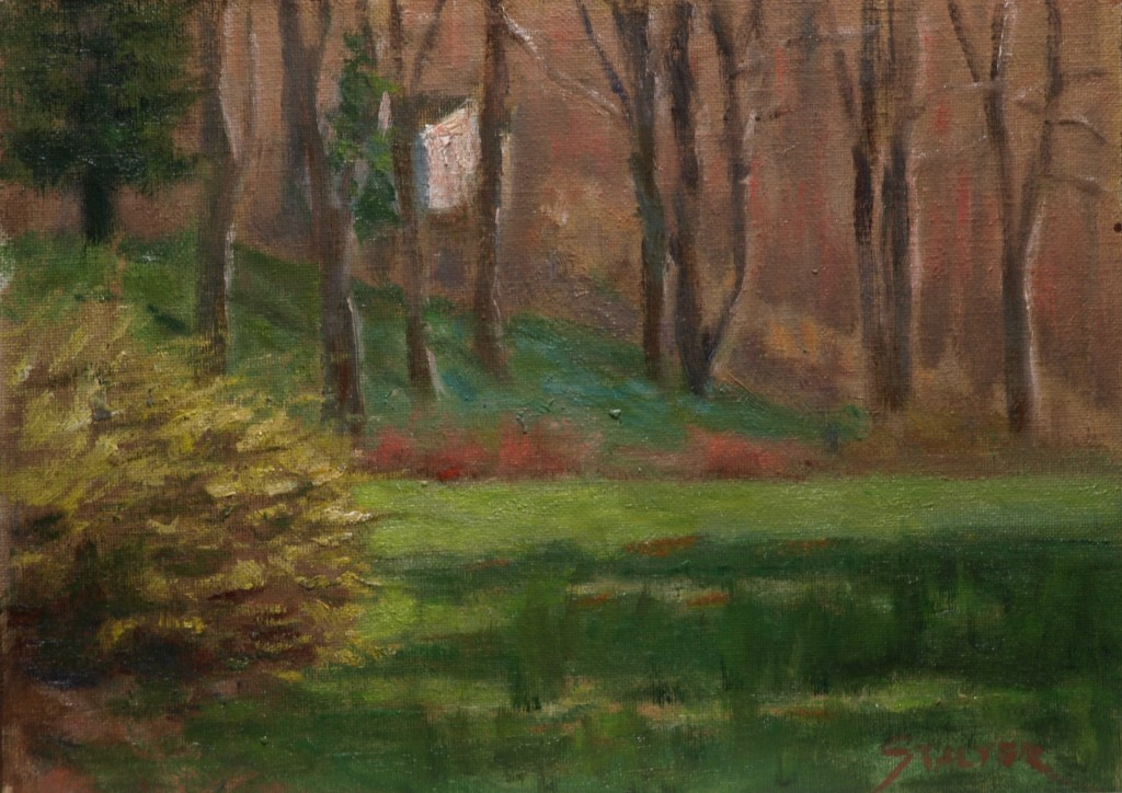 Forsythia Time, Oil on Canvas on Panel, 9 x 12 Inches, by Richard Stalter, $225