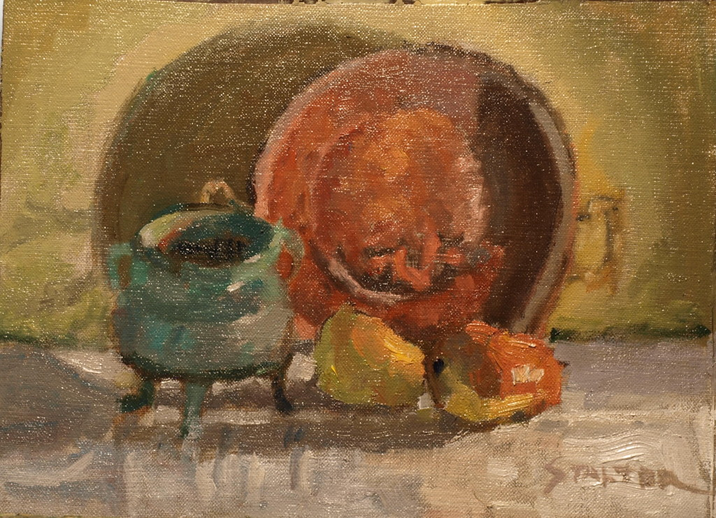 The Copper Pan, Oil on Canvas on Panel, 9 x 12 Inches, by Richard Stalter, $225