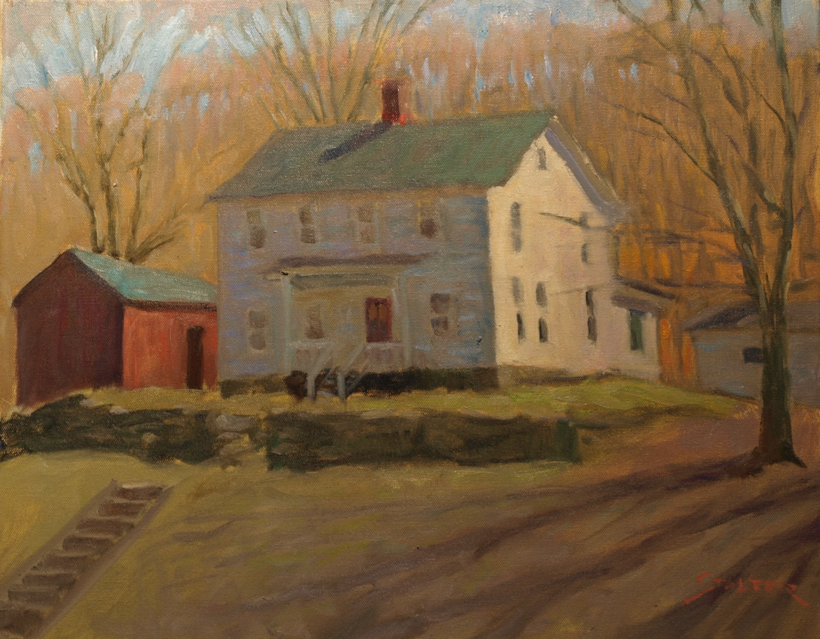 Gaylordsville House in Early Spring, Oil on Canvas, 16 x 20 Inches, by Richard Stalter, $450