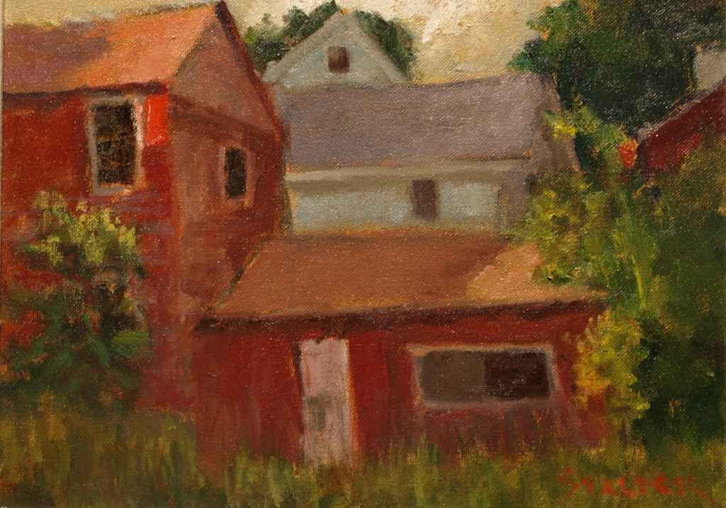 Storage Barns, Oil on Canvas on Panel, 9 x 12 Inches, by Richard Stalter, $220