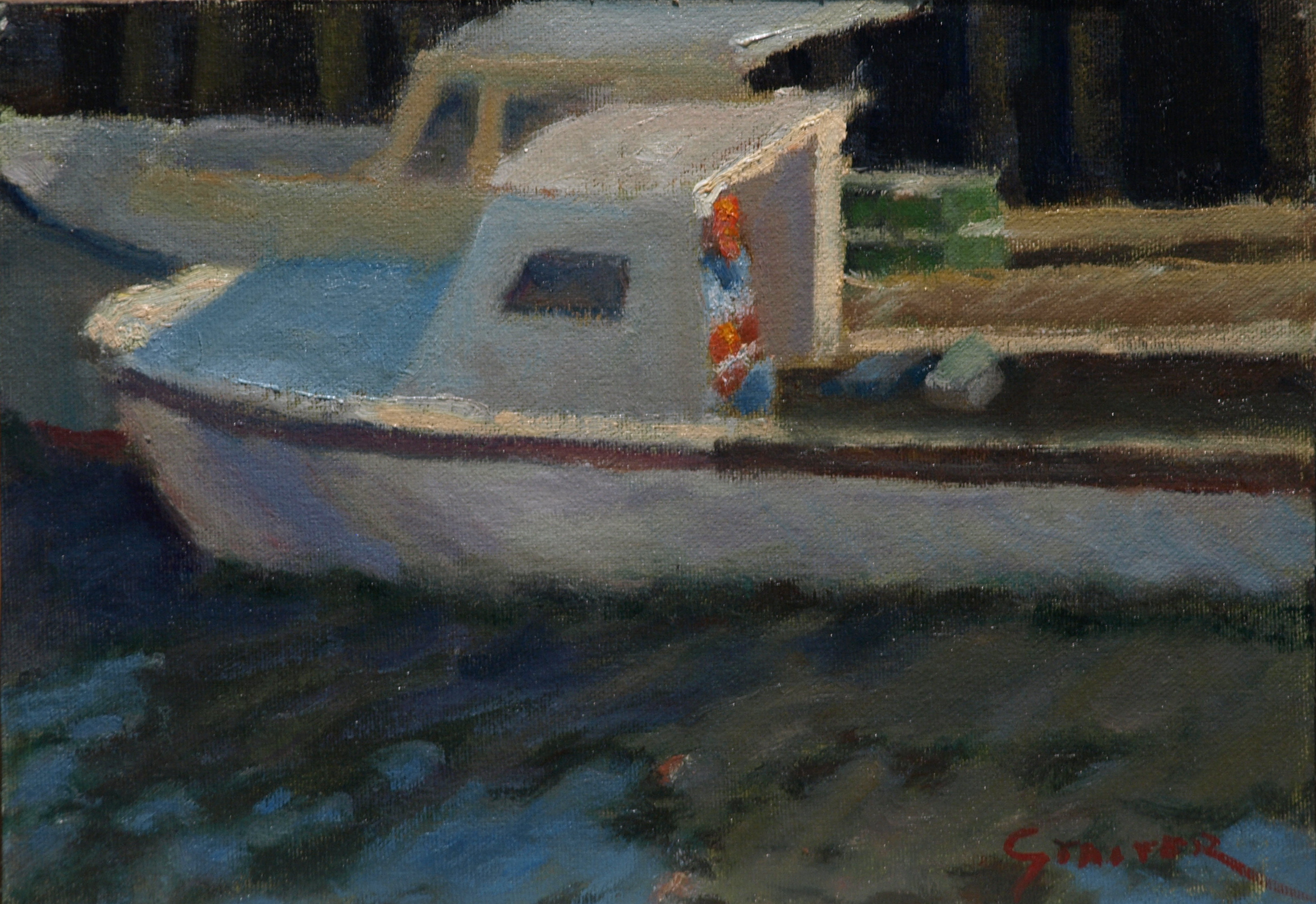 Dockside, Oil on Canvas on Panel, 9 x 12 Inches, by Richard Stalter, $225