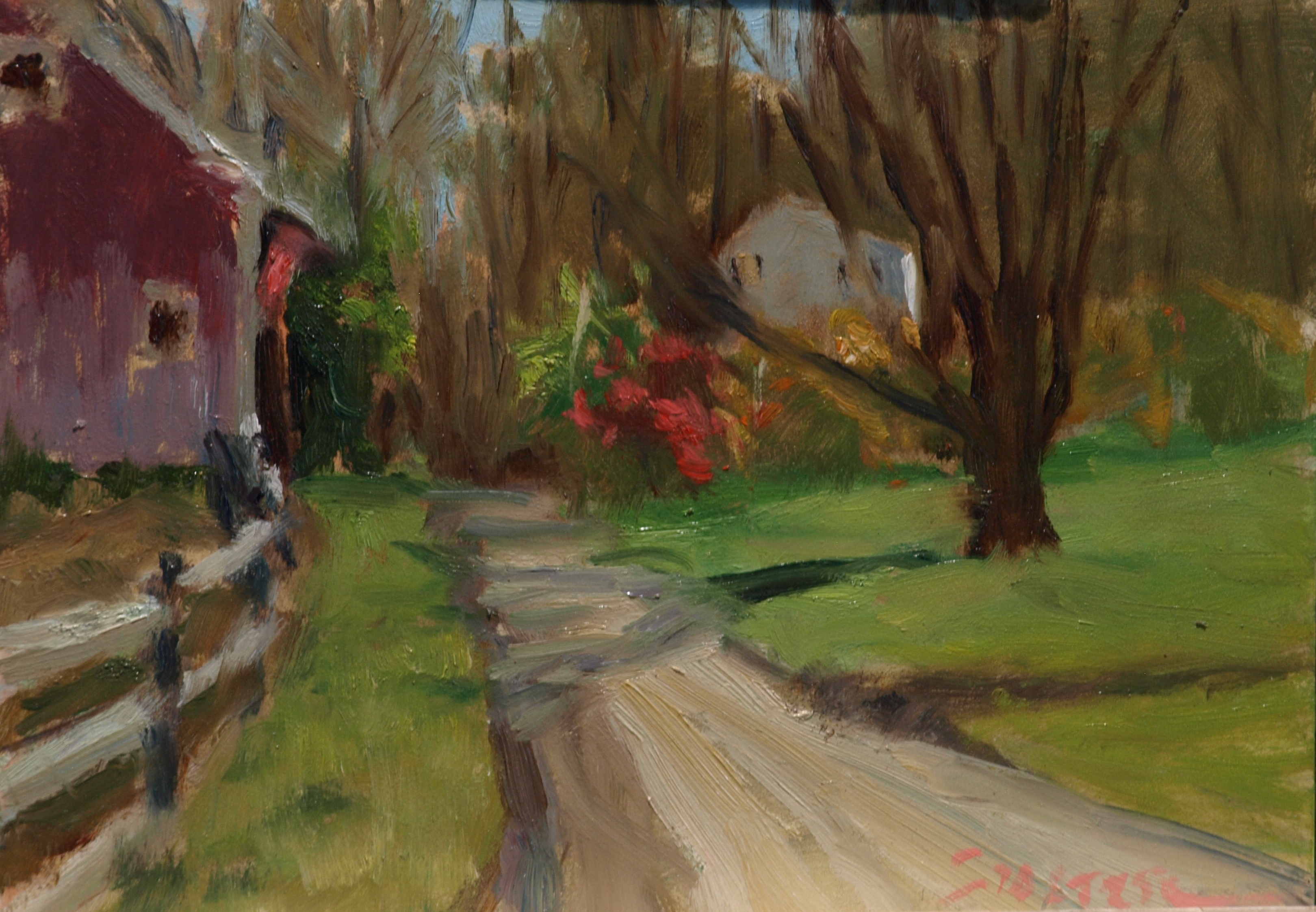 Bright Fall Day, Oil on Canvas on Panel, 9 x 12 Inches, by Richard Stalter, $225