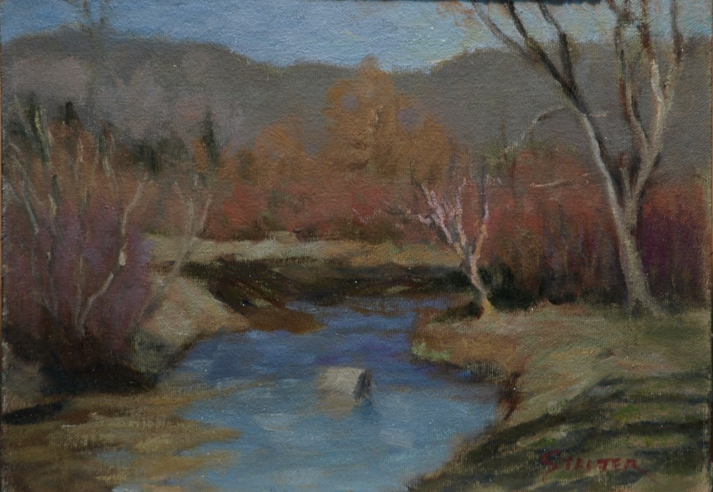 Autumn by the River, Oil on Canvas on Panel, 9 x 12 Inches, by Richard Stalter, $225