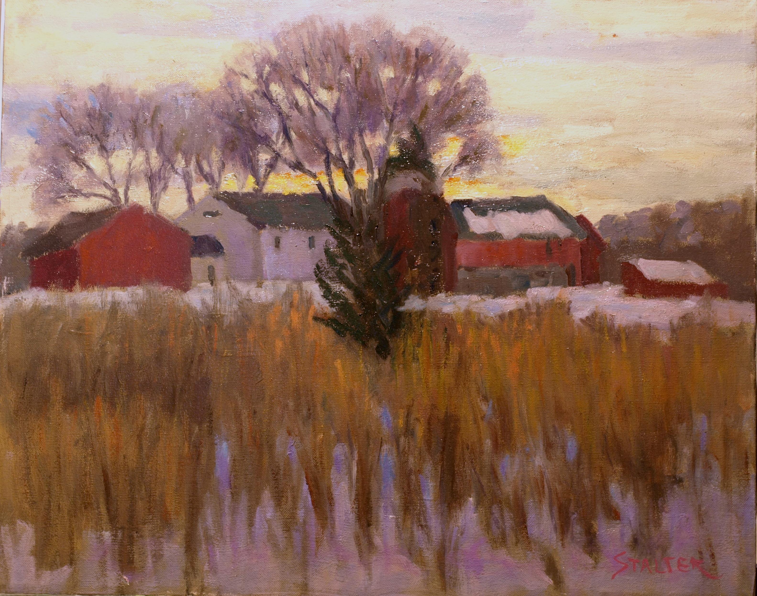 Snowy Day - Osborn Farm, Oil on Canvas, 16 x 20 Inches, by Richard Stalter, $450