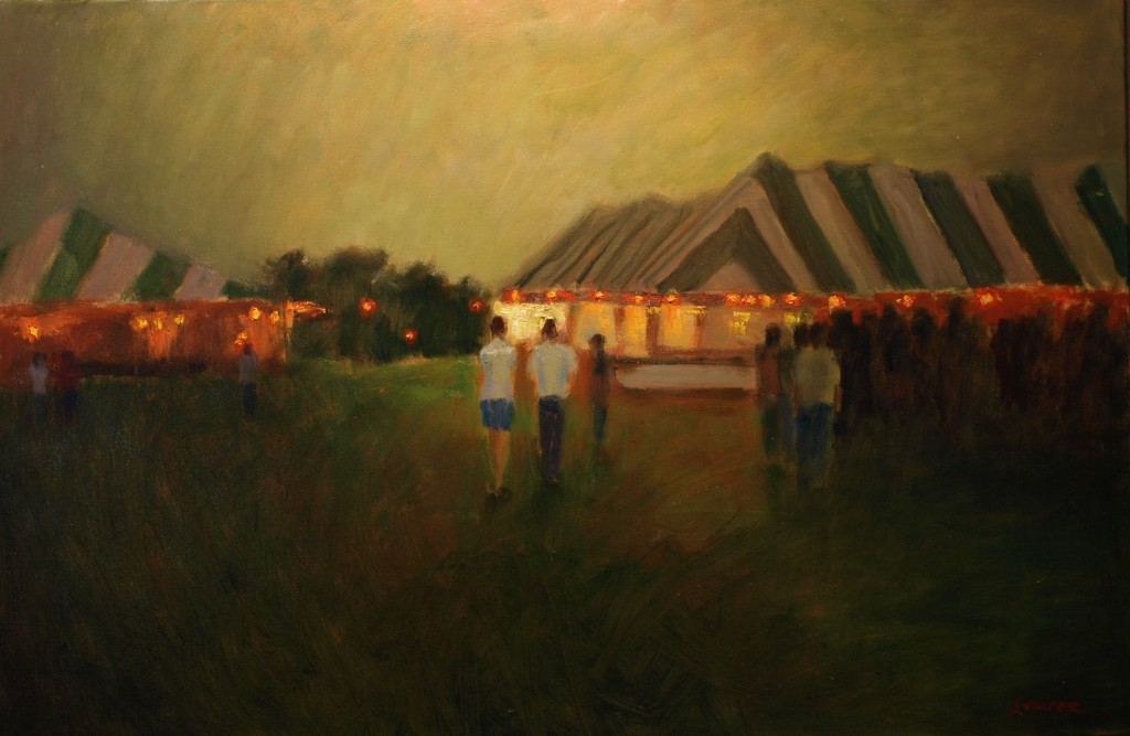 Twilight -- Bridgewater Fair, Oil on Canvas, 24 x 36 Inches, by Richard Stalter, $1200
