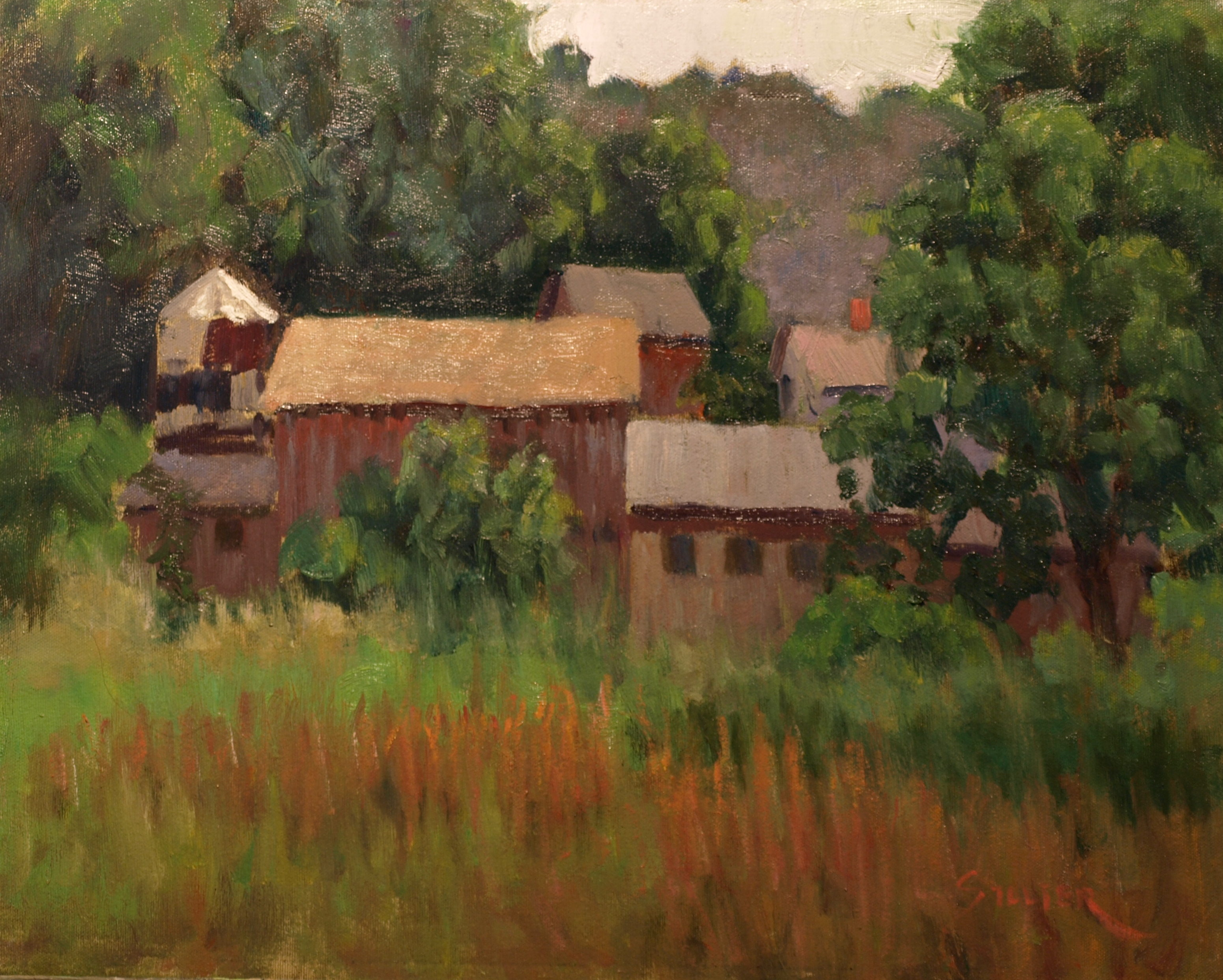 Farm on Mud Pond Road, Oil on Canvas, 16 x 20 Inches, by Richard Stalter, $450