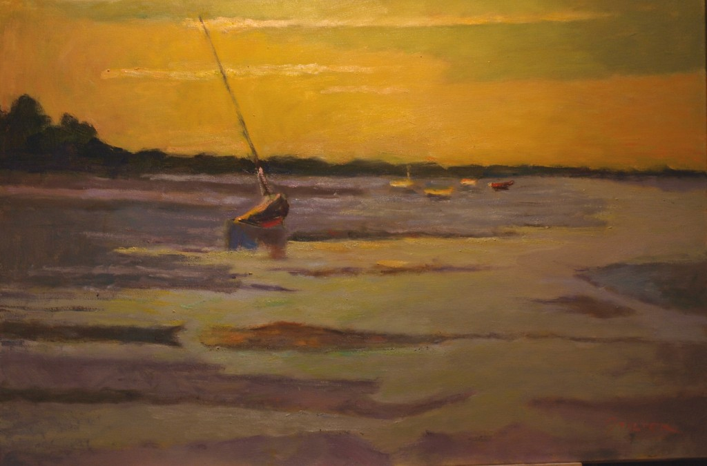 Low Tide -- Provincetown, Oil on Canvas, 24 x 36 Inches, by Richard Stalter, $1200