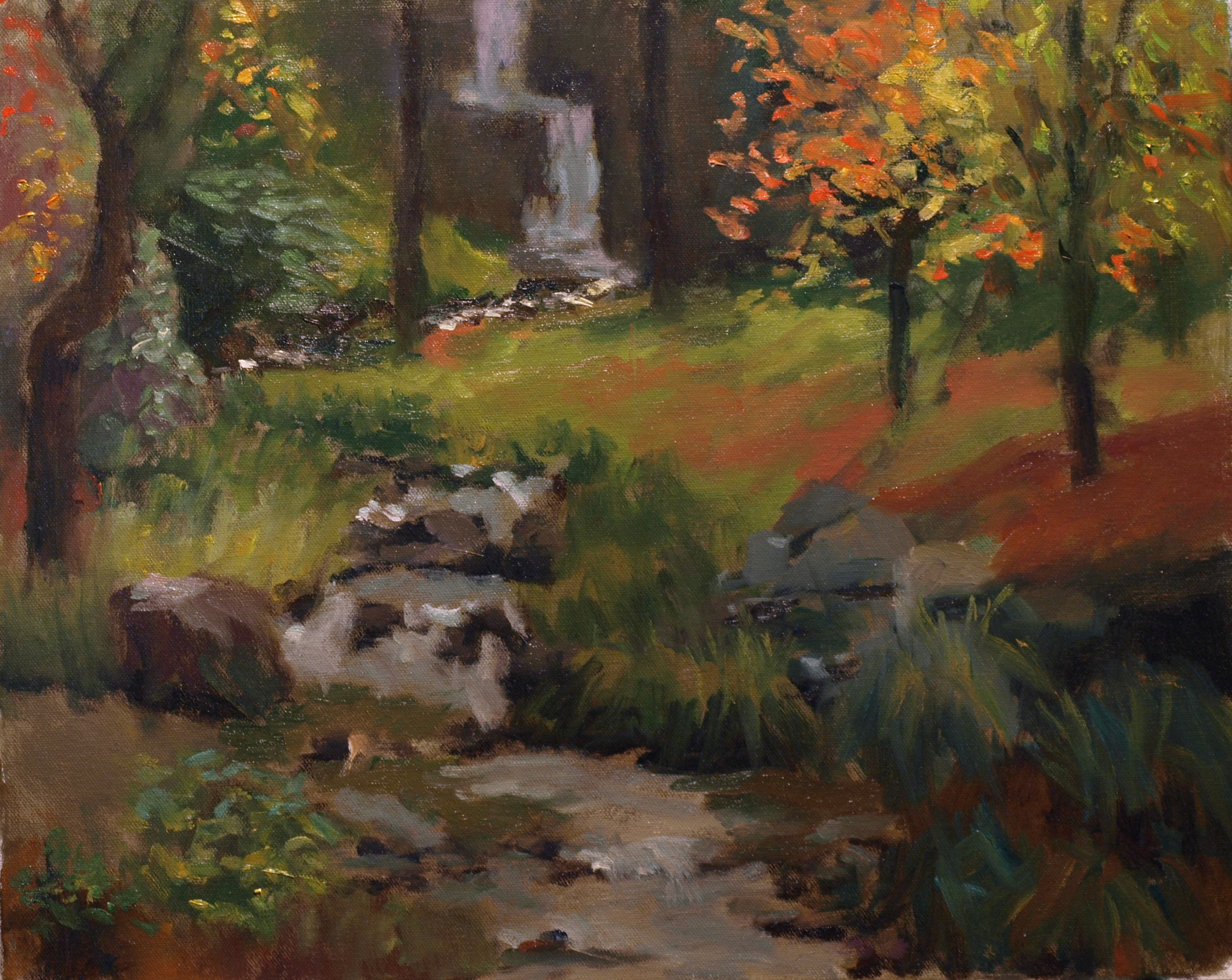 Stream at Kent Falls, Oil on Canvas, 16 x 20 Inches, by Richard Stalter, $450