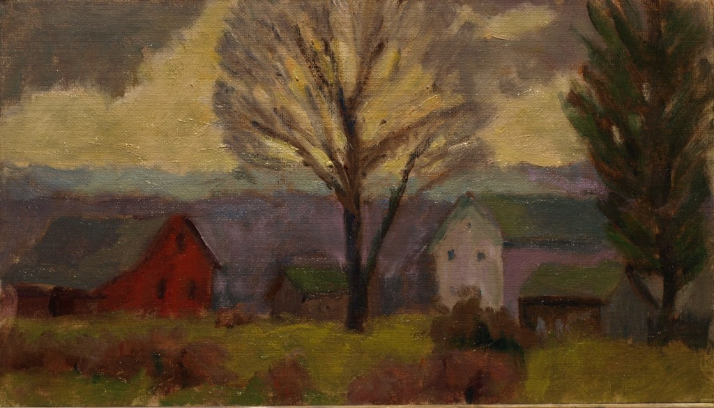 Autumn Evening, Oil on Canvas on Panel, 8 x 14 Inches, by Richard Stalter, $220