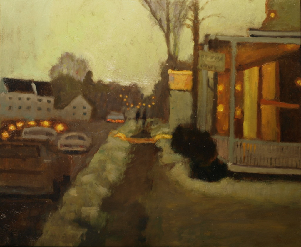 Winter Evening in Kent, Oil on Canvas, 20 x 24 Inches, by Richard Stalter, $650