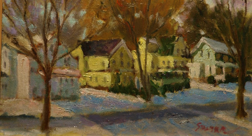 Canterbury Terrace, Oil on Canvas on Panel, 8 x 14 Inches, by Richard Stalter, $225