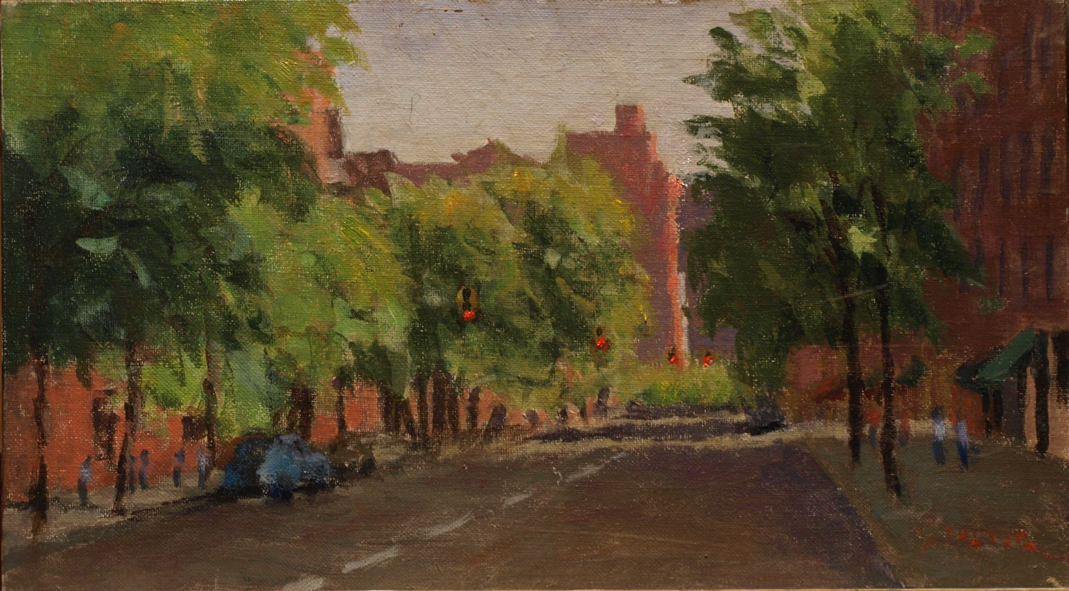 Hudson Street, Oil on Canvas on Panel, 8 x 14 Inches, by Richard Stalter, $220