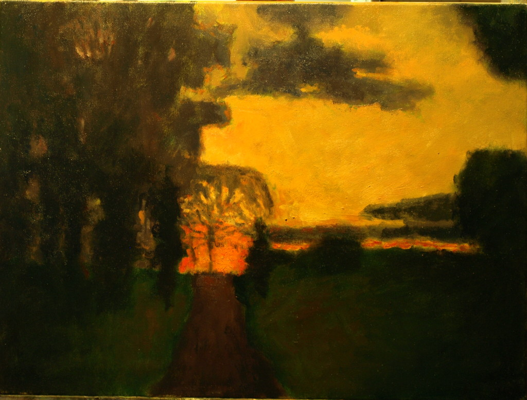 Road to the Sunset, Oil on Canvas, 18 x 24 Inches, by Richard Stalter, $650