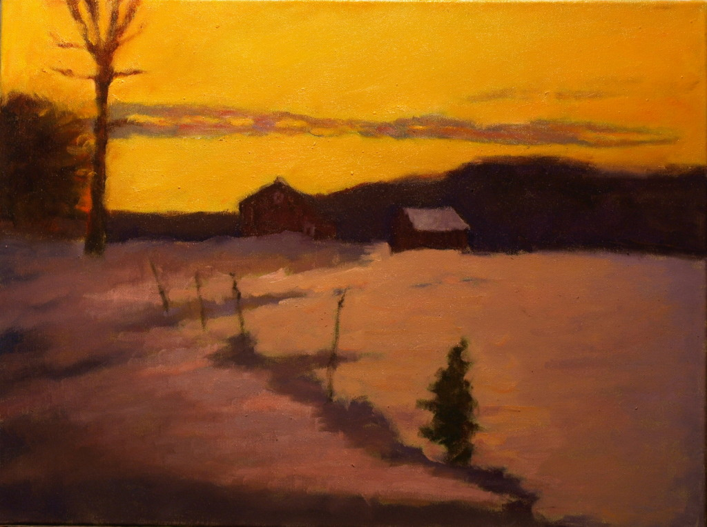 Last Light - Winter Day, Oil on Canvas, 18 x 24 Inches, by Richard Stalter, $650