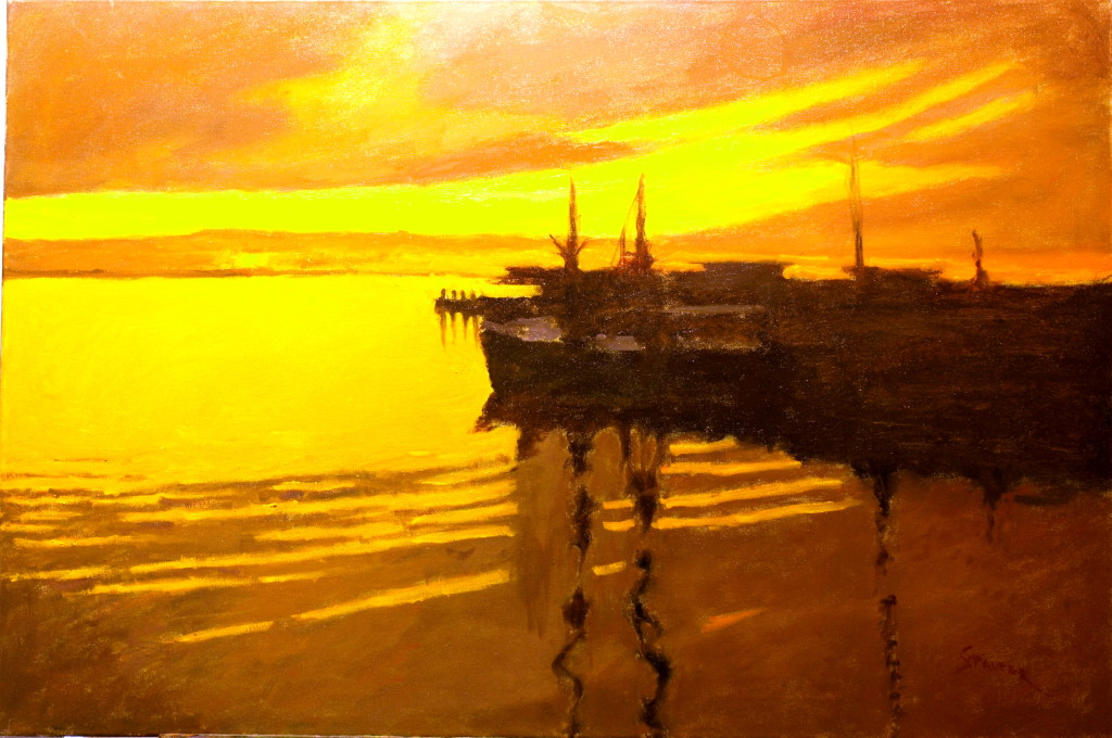 Sunset - Stonington Warves, Oil on Canvas, 24 x 36 Inches, by Richard Stalter, $1200
