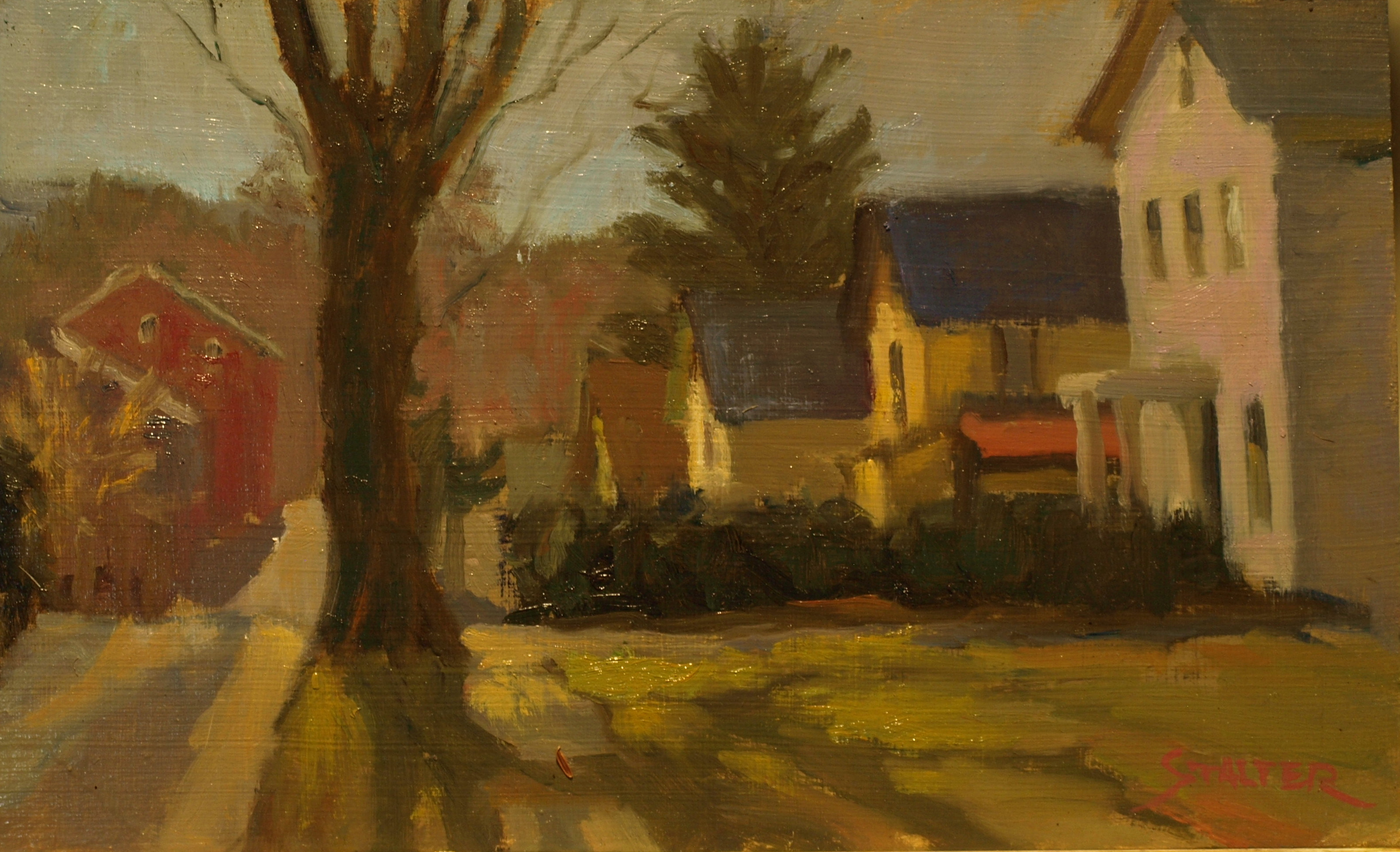 Sunshine -- West Street, Oil on Panel, 8 x 14 Inches, by Richard Stalter, $220