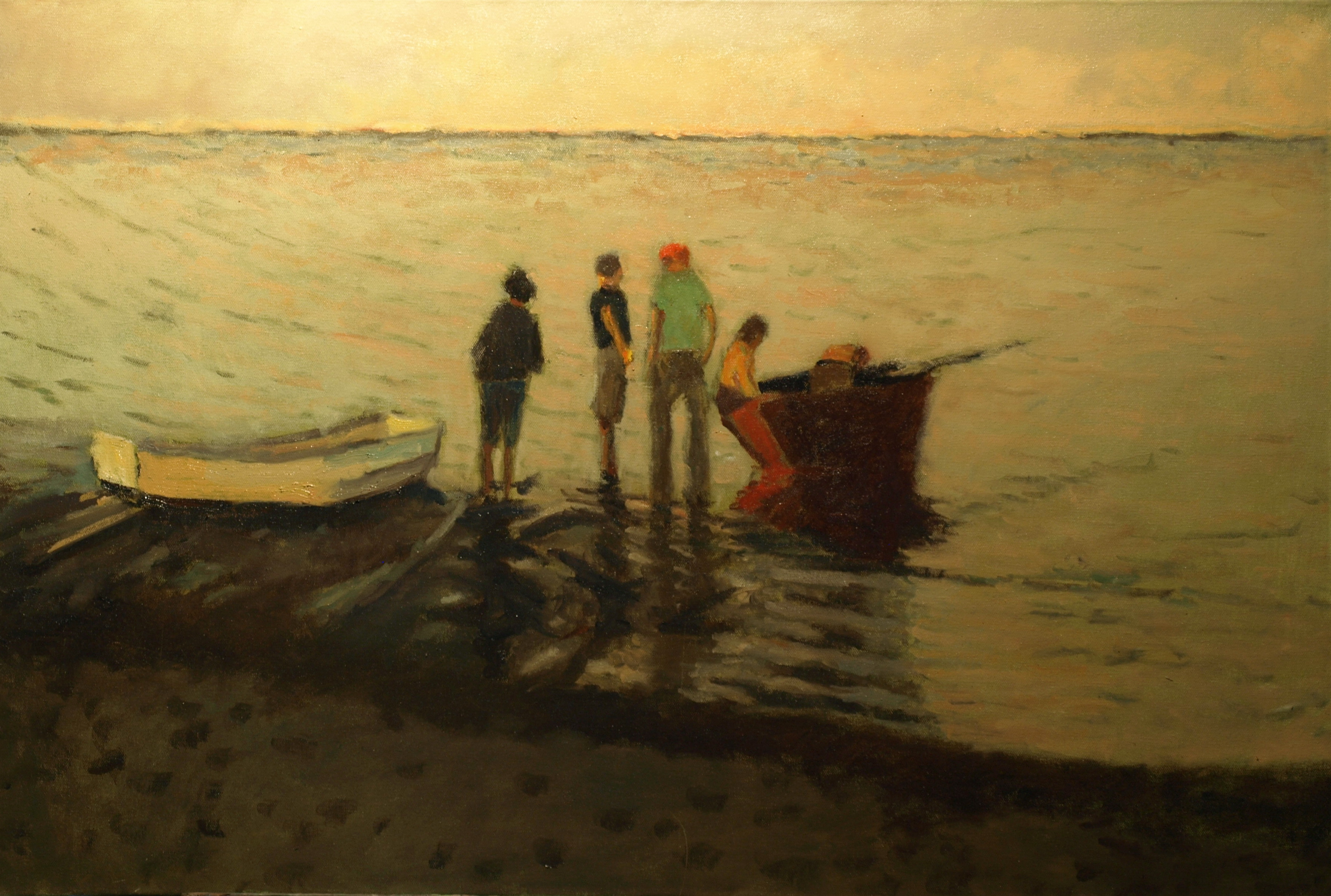 Shoreline Gathering, Oil on Canvas, 24 x 36 Inches, by Richard Stalter, $1200