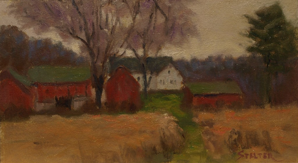 Red Barns in Autumn, Oil on Canvas on Panel, 8 x 14 Inches, by Richard Stalter, $220