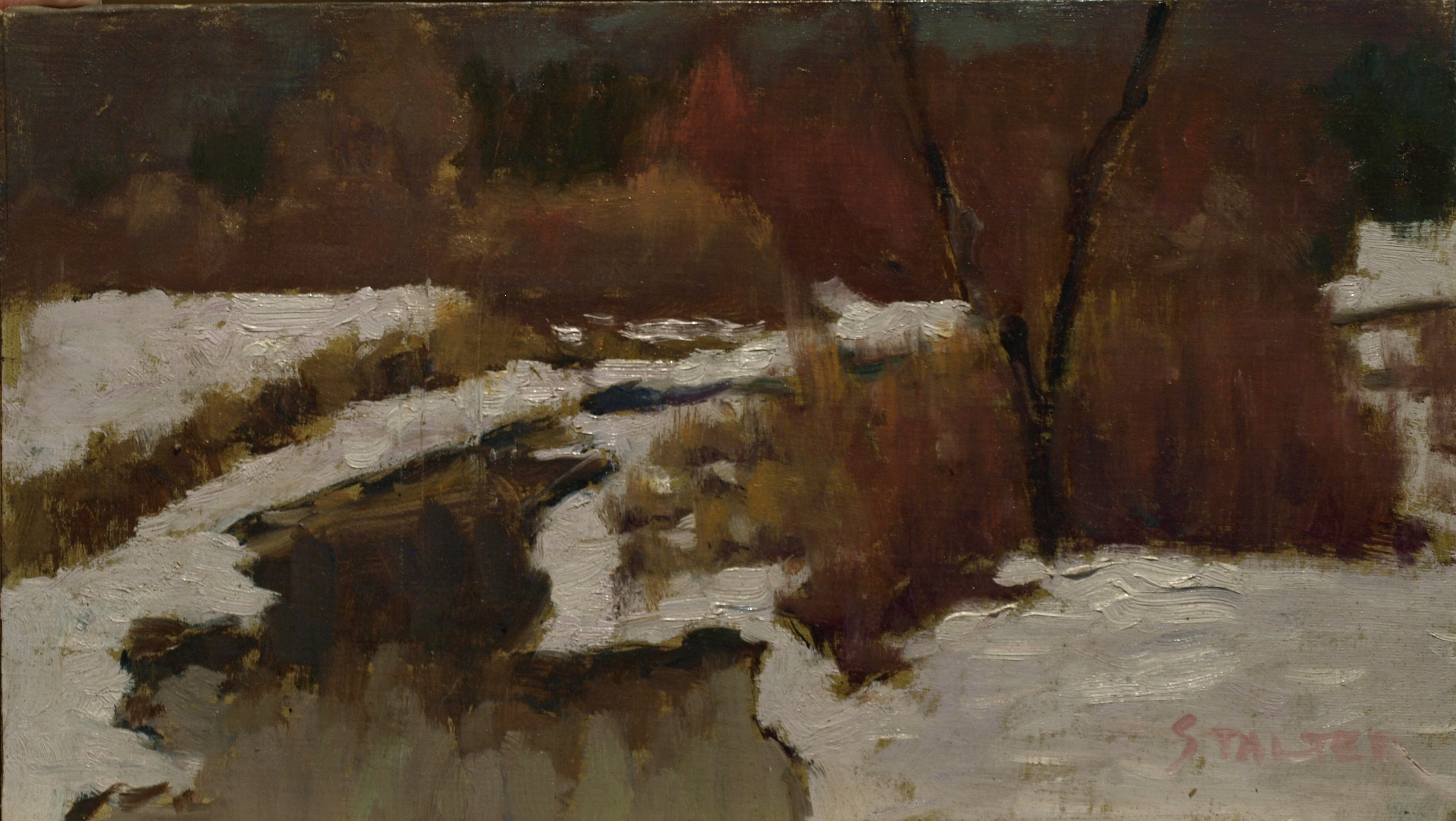 Winterlocked Brook, Oil on Canvas on Panel, 8 x 14 Inches, by Richard Stalter, $220