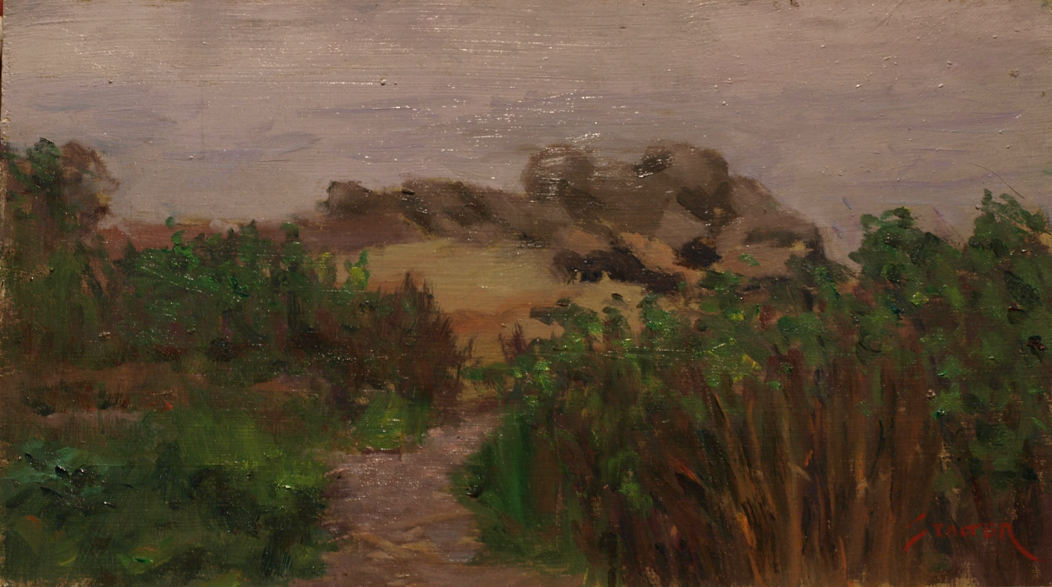 Path to the Shore, Oil on Panel, 8 x 14 Inches, by Richard Stalter, $220